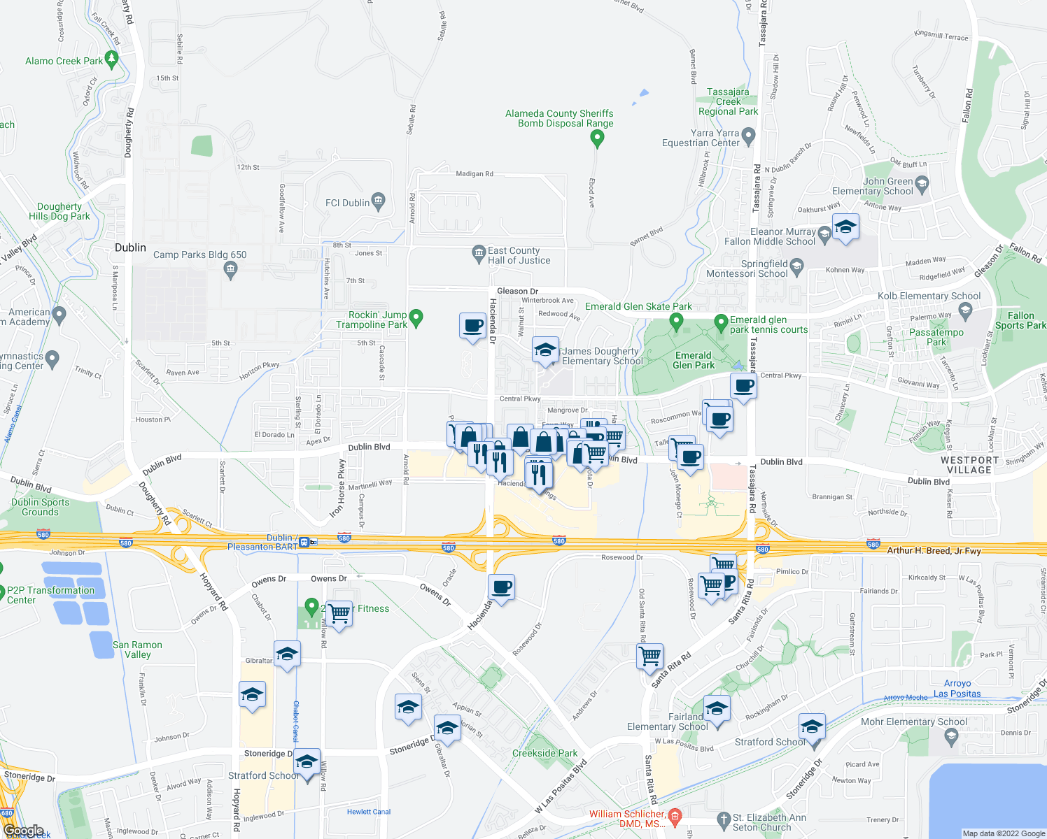 map of restaurants, bars, coffee shops, grocery stores, and more near 5095 Haven Place in Dublin