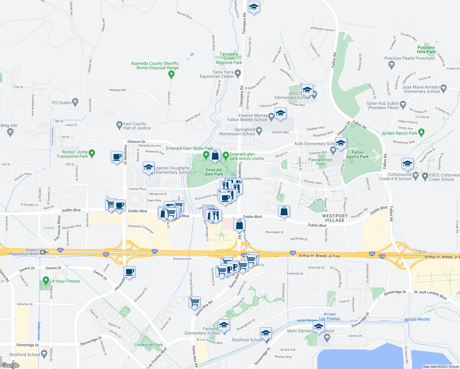 map of restaurants, bars, coffee shops, grocery stores, and more near 4800 Tassajara Road in Dublin