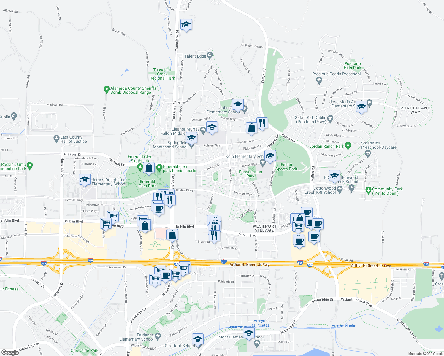 map of restaurants, bars, coffee shops, grocery stores, and more near 4771 Perugia Street in Dublin