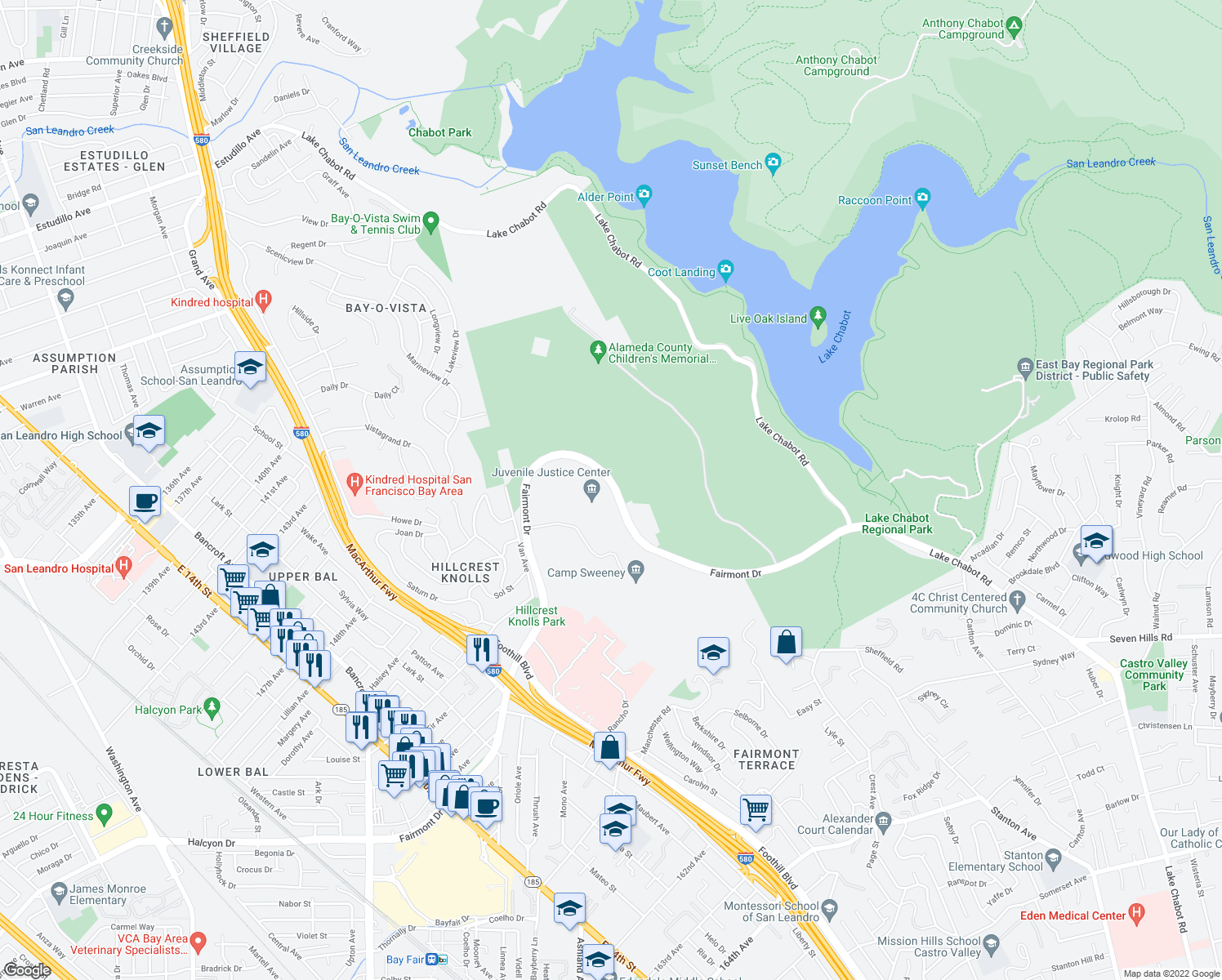 map of restaurants, bars, coffee shops, grocery stores, and more near 2364-2442 Fairmont Drive in San Leandro