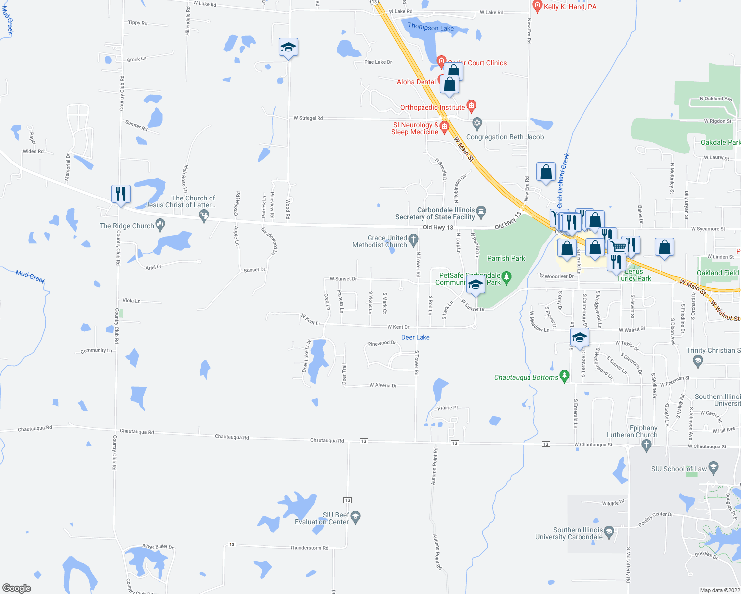 map of restaurants, bars, coffee shops, grocery stores, and more near 116 South Violet Lane in Carbondale