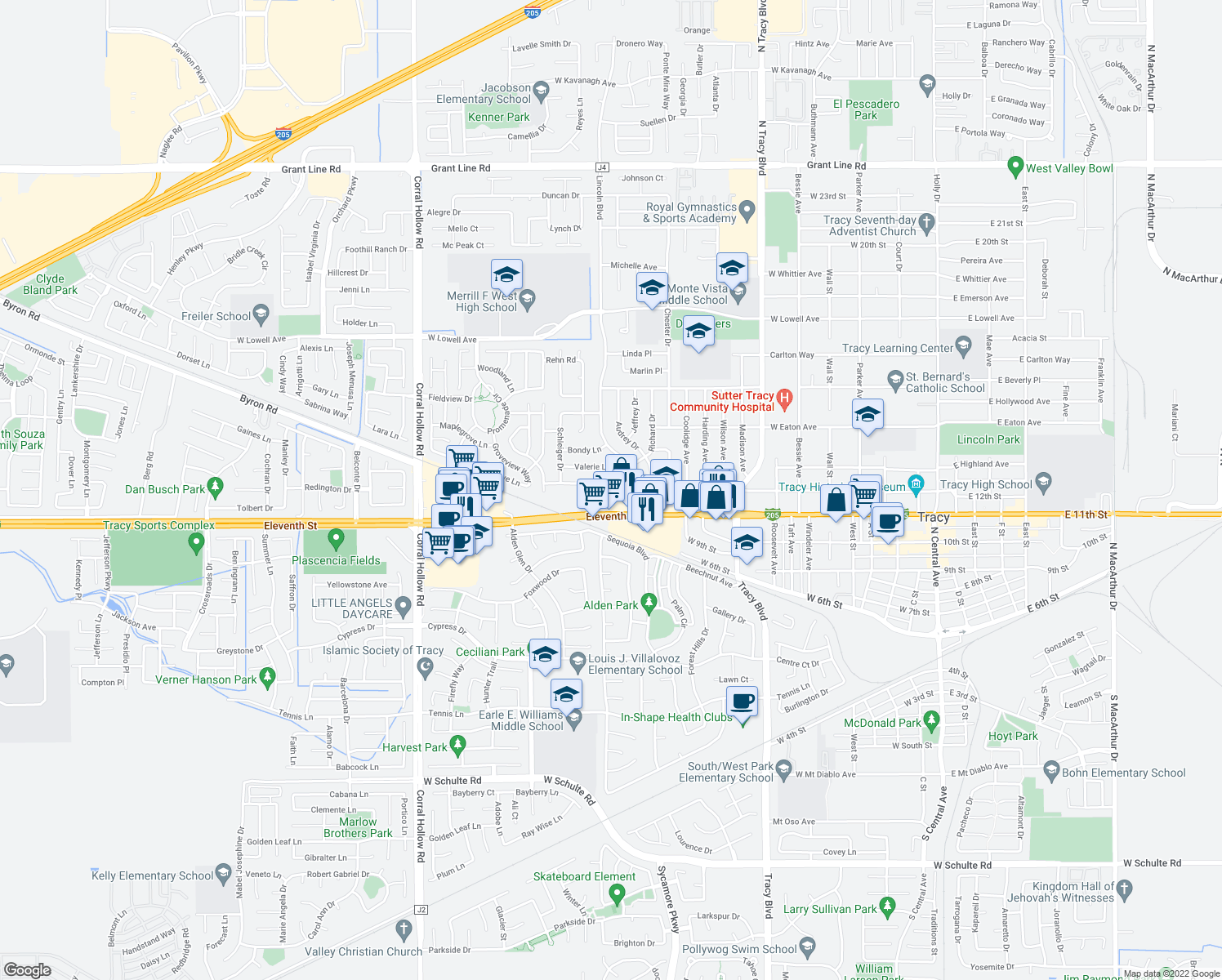 map of restaurants, bars, coffee shops, grocery stores, and more near 1414 12th Street in Tracy
