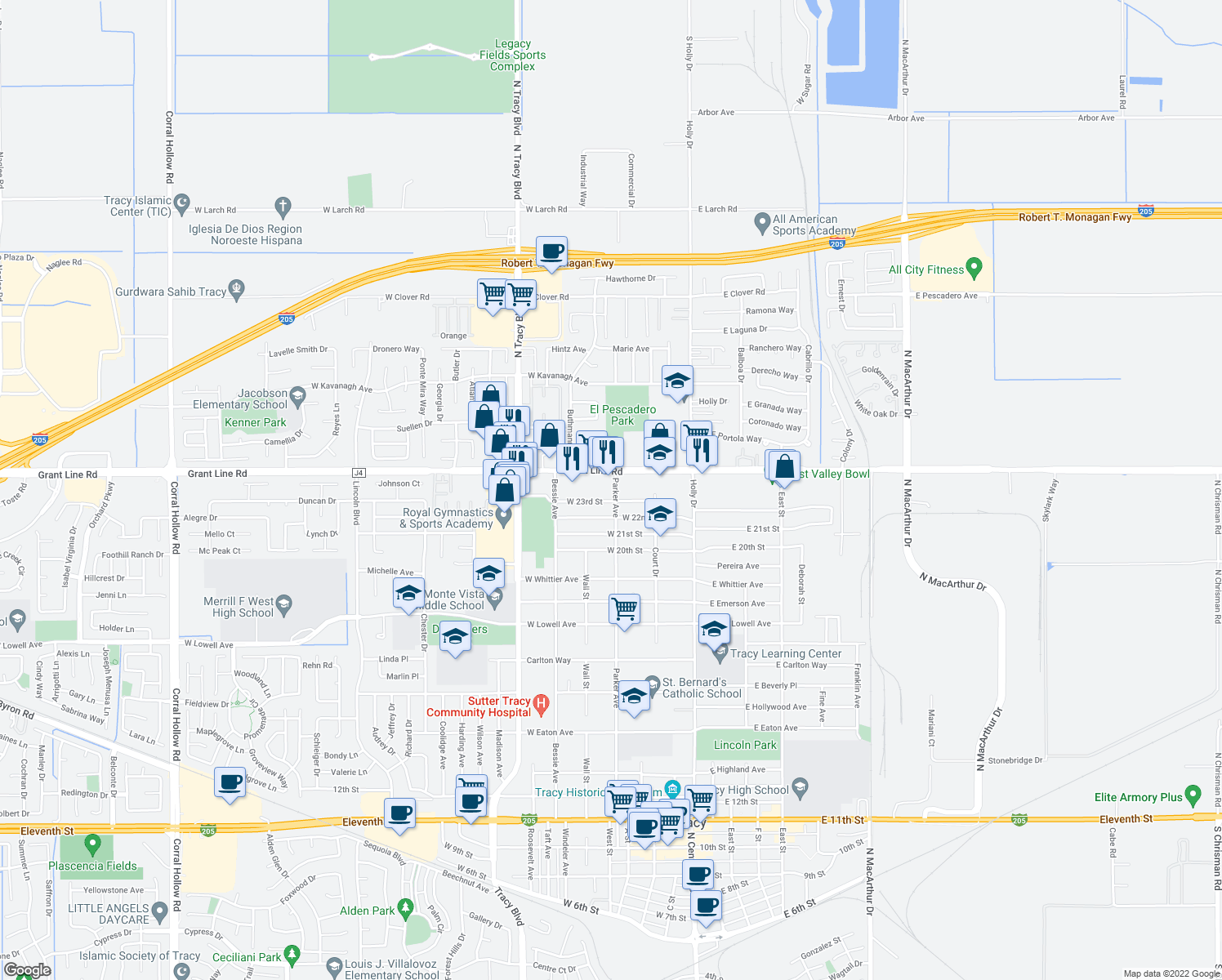map of restaurants, bars, coffee shops, grocery stores, and more near 2321 Parker Avenue in Tracy