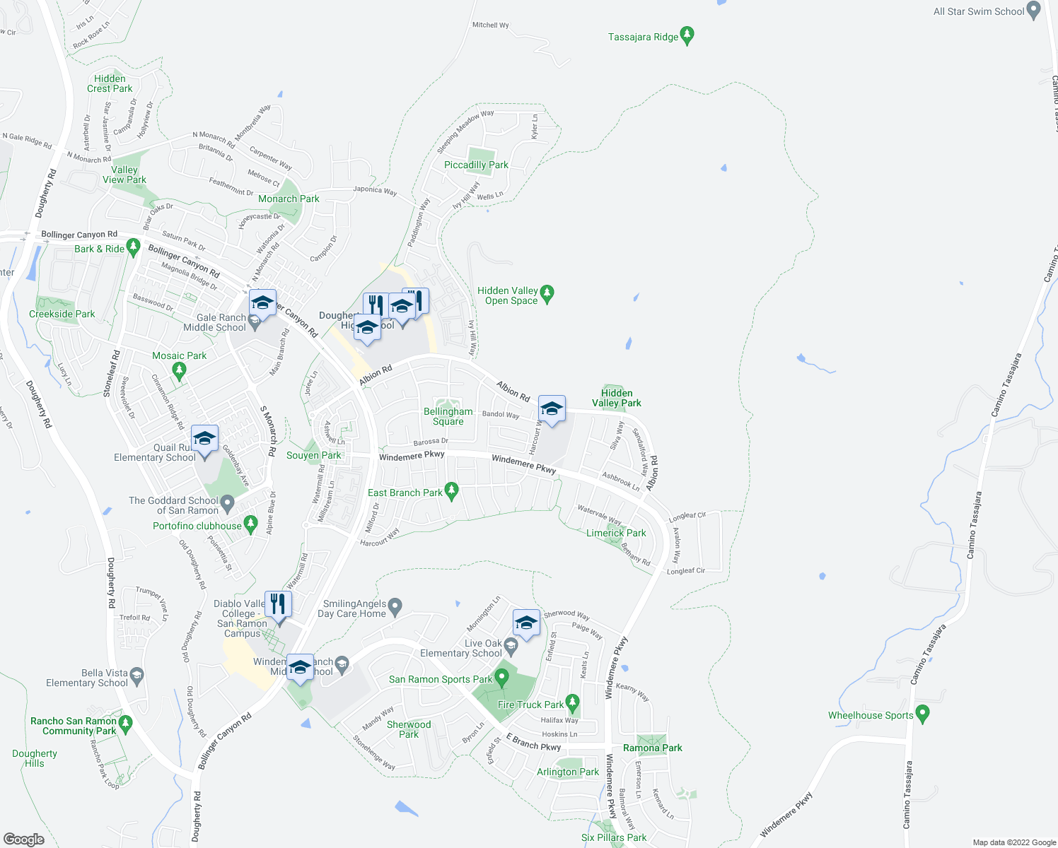 map of restaurants, bars, coffee shops, grocery stores, and more near 2177 North Donovan Way in San Ramon