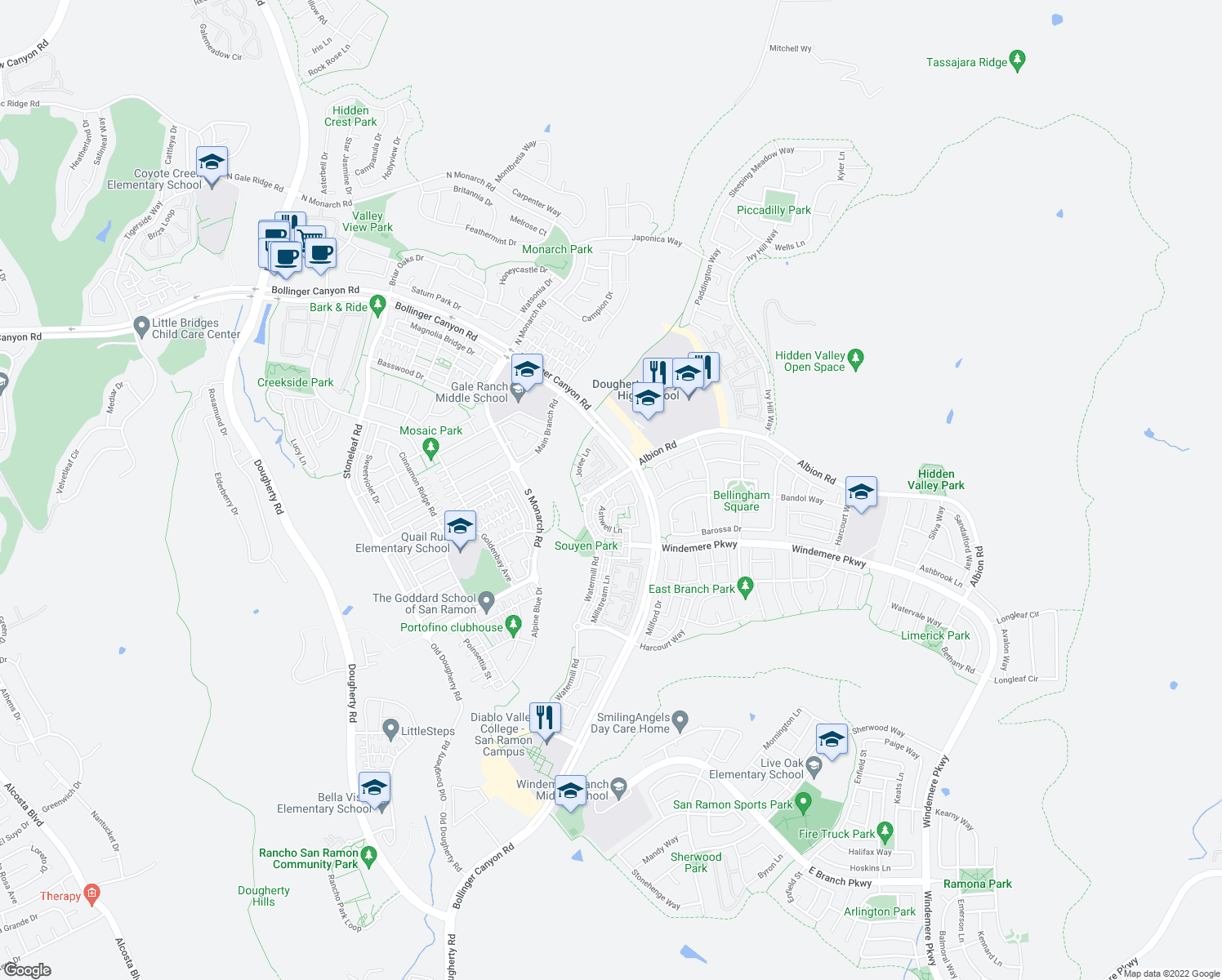 map of restaurants, bars, coffee shops, grocery stores, and more near 1 Amberstone Lane in San Ramon