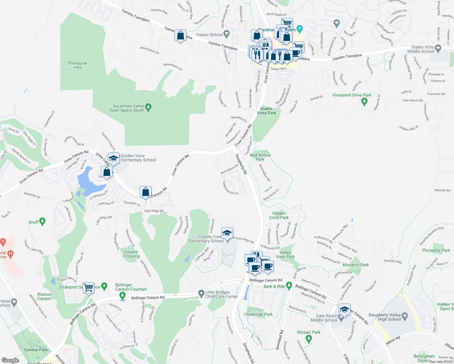 map of restaurants, bars, coffee shops, grocery stores, and more near 664 South Blackbrush Lane in San Ramon