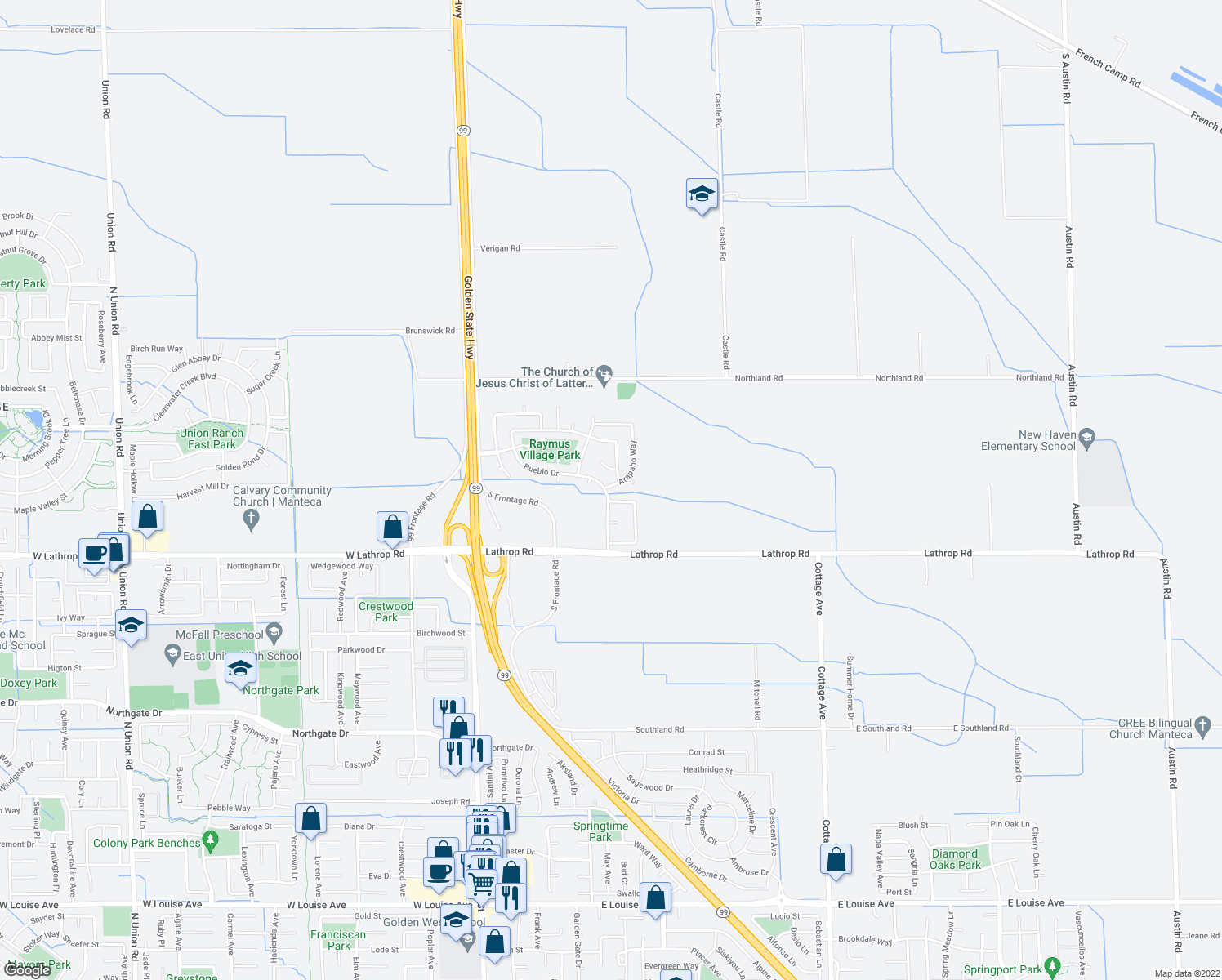 map of restaurants, bars, coffee shops, grocery stores, and more near 14666 Arapaho Way in Manteca