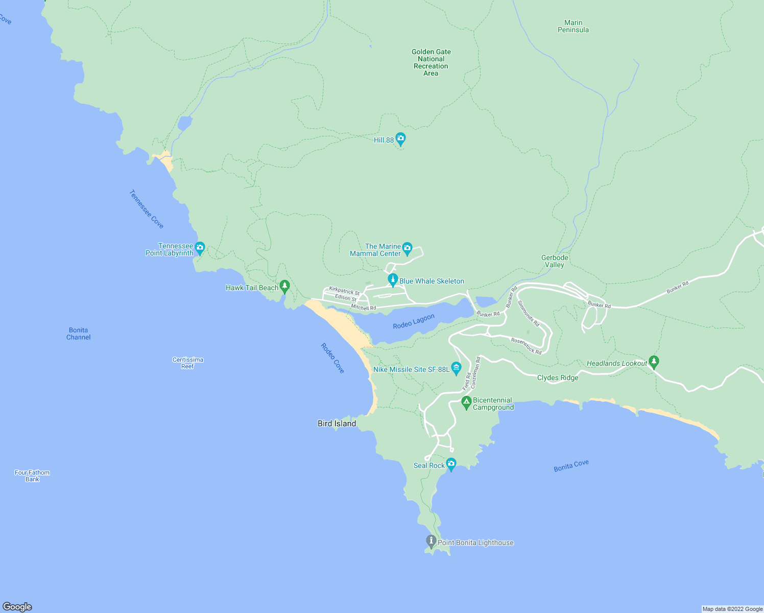 map of restaurants, bars, coffee shops, grocery stores, and more near Mitchell Road in Sausalito