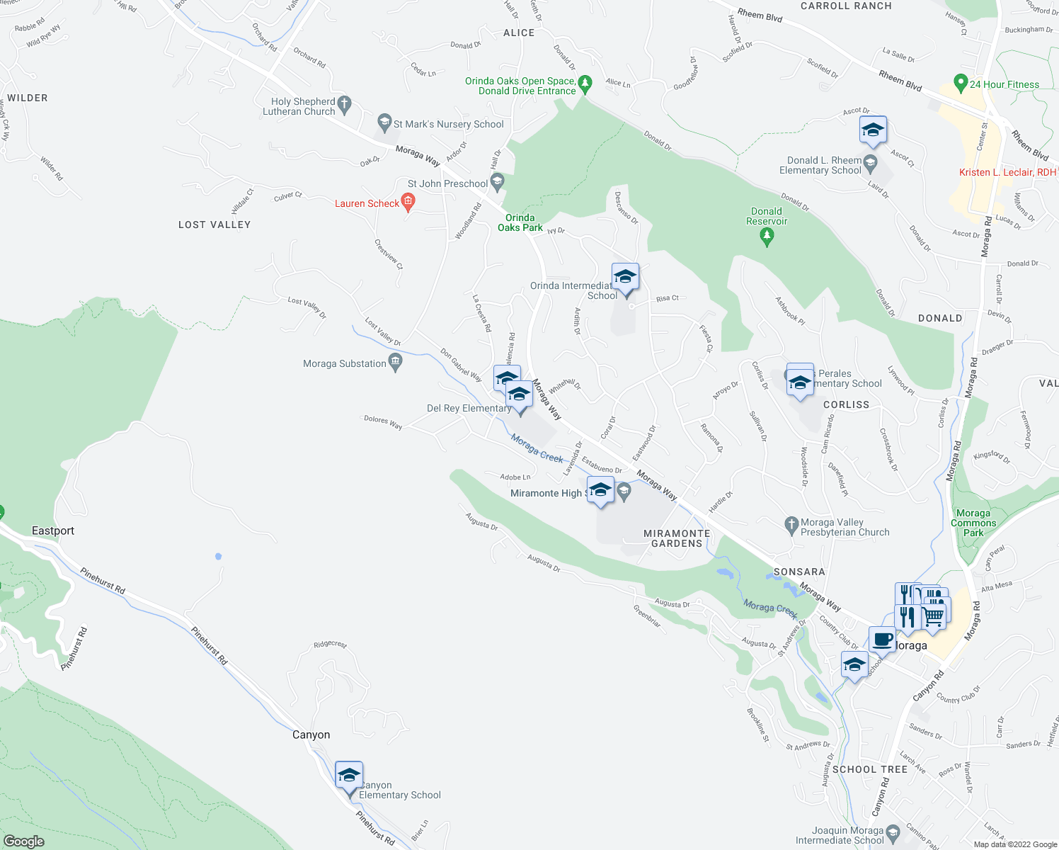 map of restaurants, bars, coffee shops, grocery stores, and more near 105 Donna Maria Way in Orinda