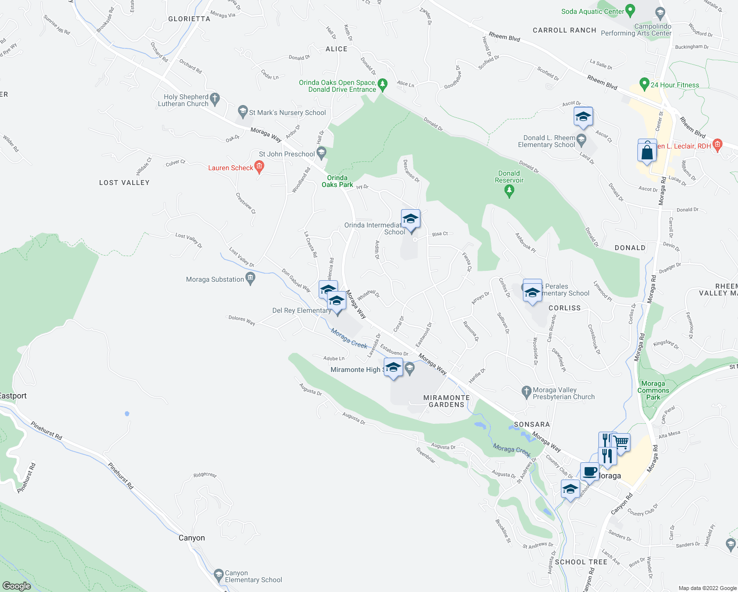 map of restaurants, bars, coffee shops, grocery stores, and more near 10 Whitehall Drive in Orinda