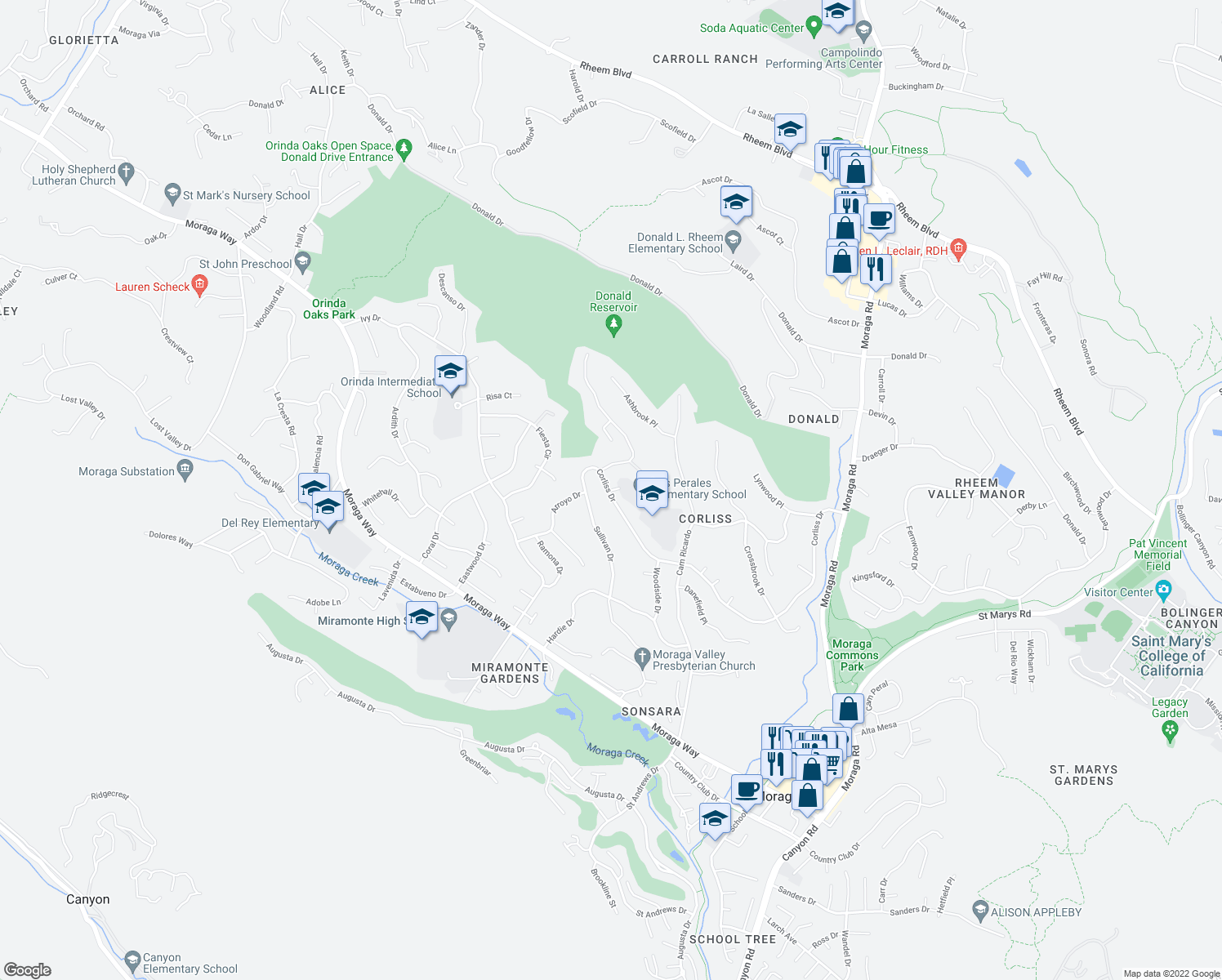 map of restaurants, bars, coffee shops, grocery stores, and more near 8 Corliss Drive in Moraga