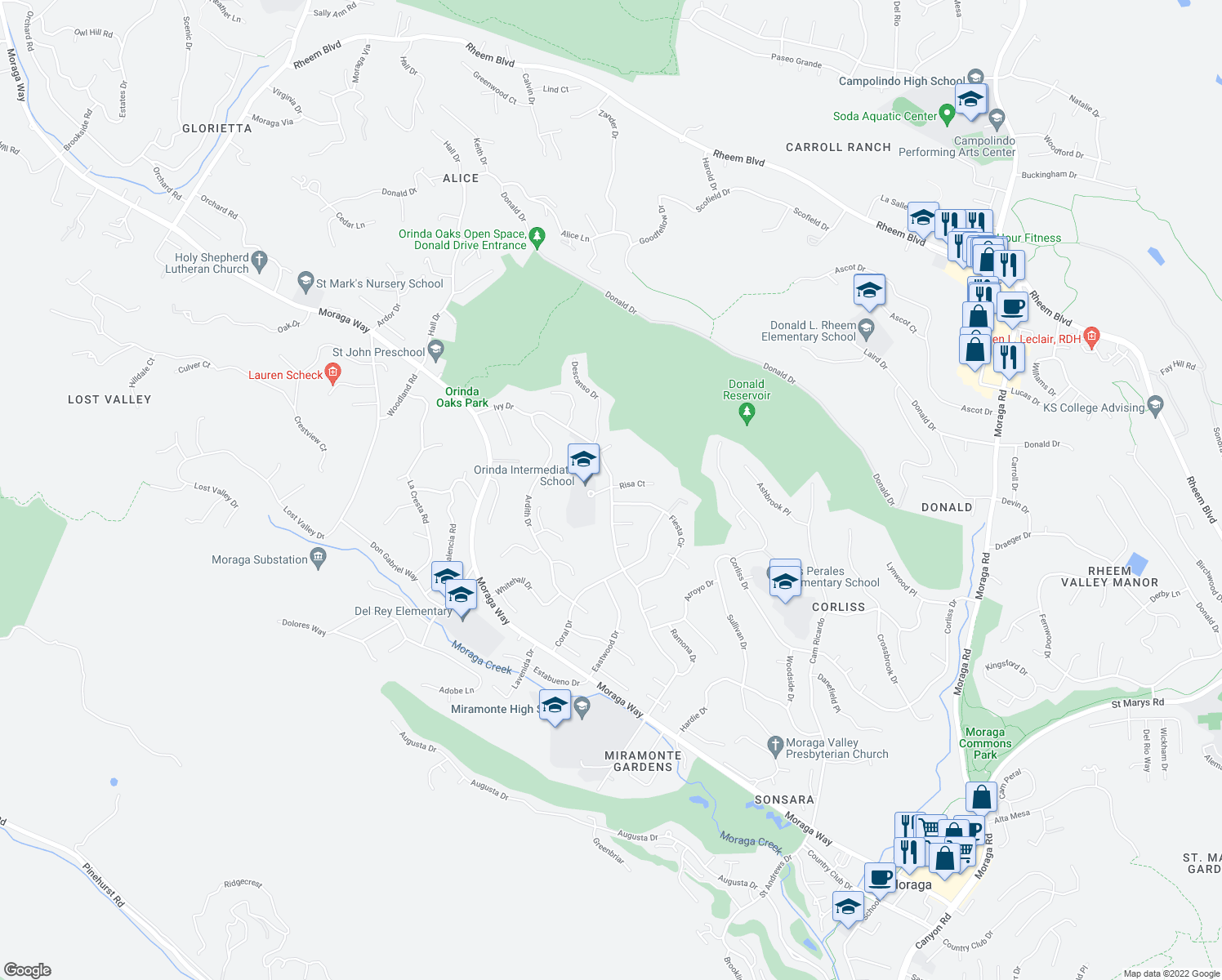 map of restaurants, bars, coffee shops, grocery stores, and more near 101 Fiesta Circle in Orinda