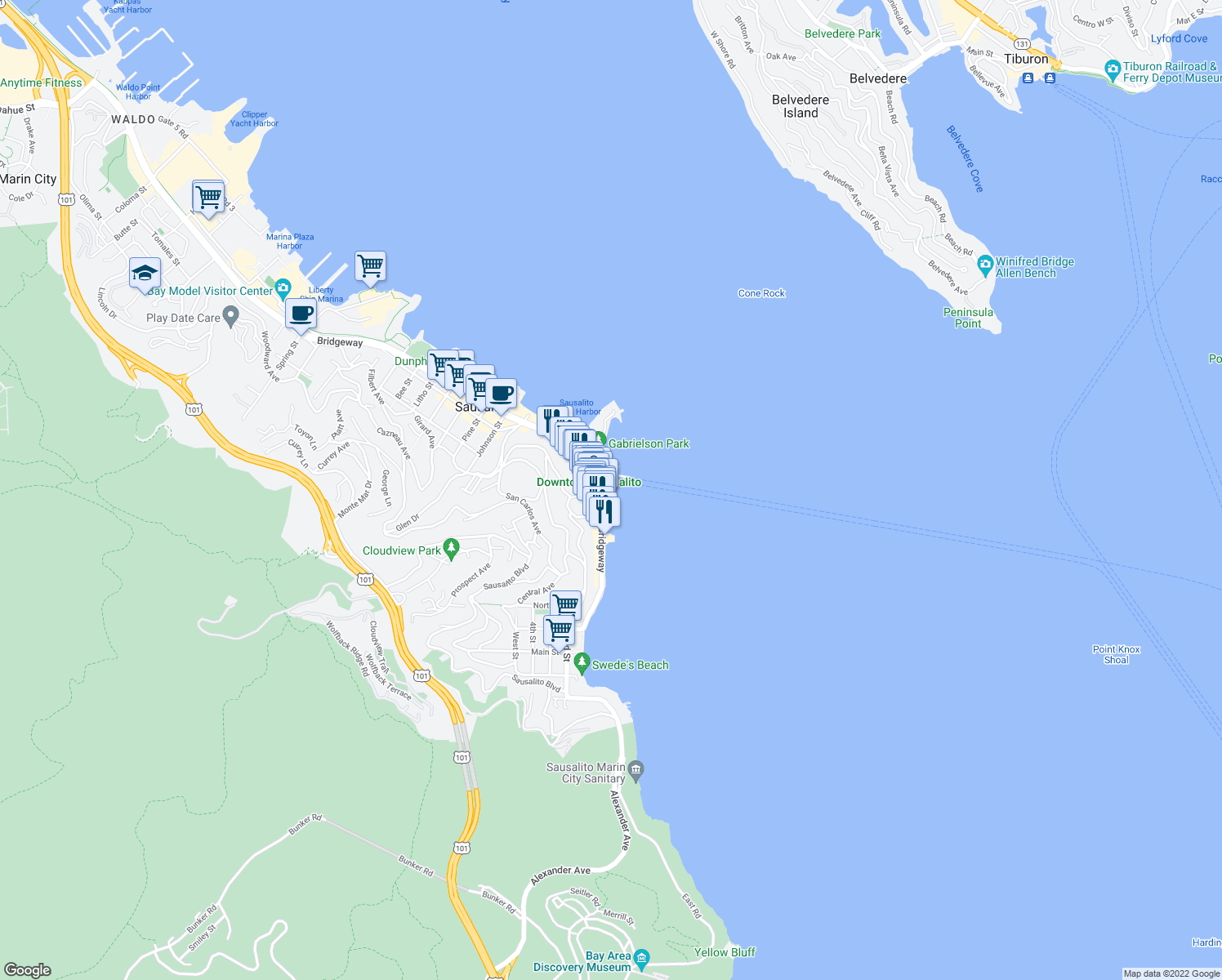 map of restaurants, bars, coffee shops, grocery stores, and more near 30 El Portal Street in Sausalito
