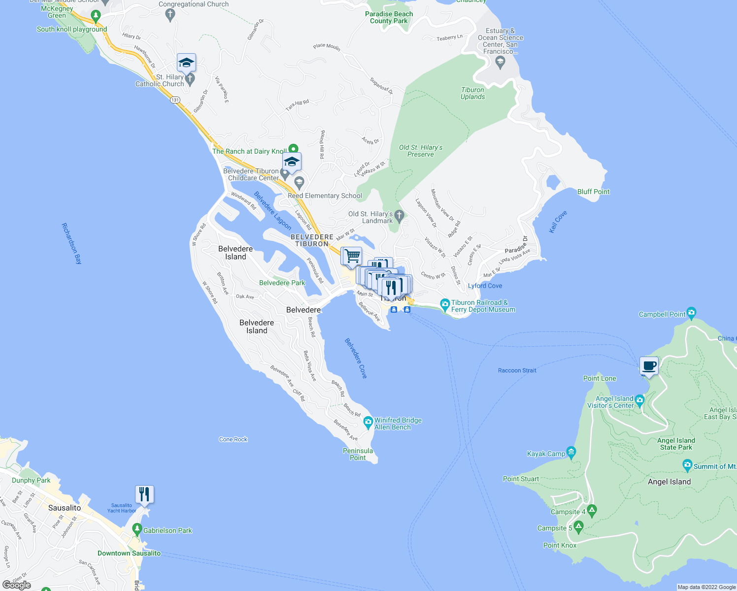 map of restaurants, bars, coffee shops, grocery stores, and more near 90 Eastview Avenue in Belvedere Tiburon
