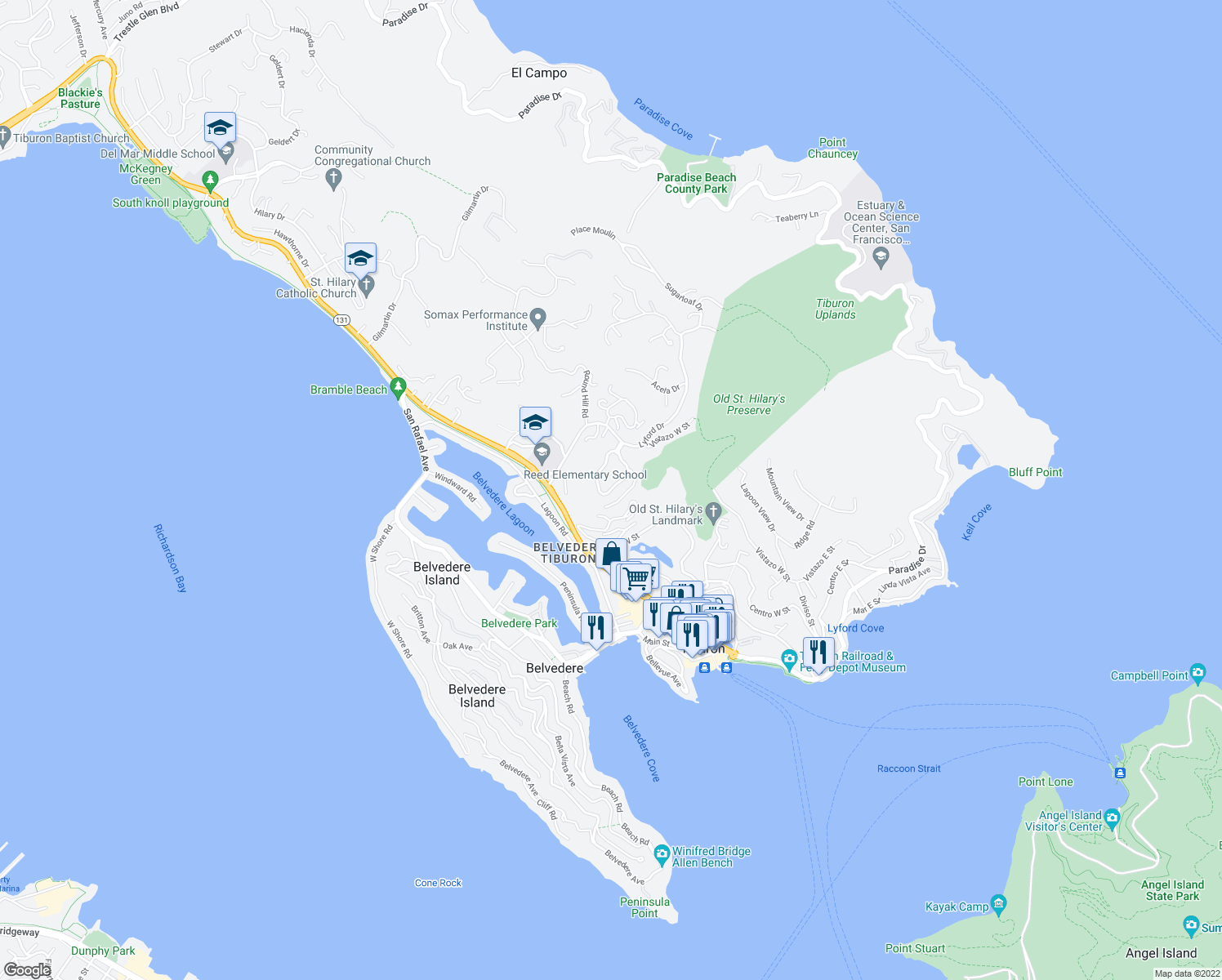 map of restaurants, bars, coffee shops, grocery stores, and more near 80-92 Corinthian Court in Belvedere Tiburon