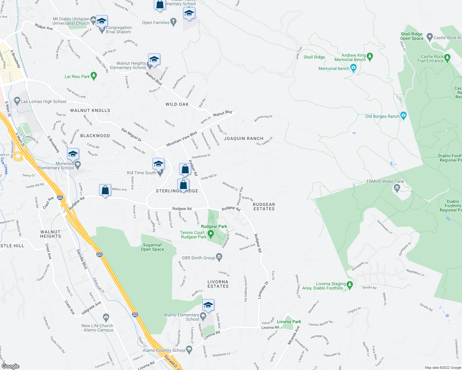 map of restaurants, bars, coffee shops, grocery stores, and more near 1938 Whitecliff Court in Walnut Creek