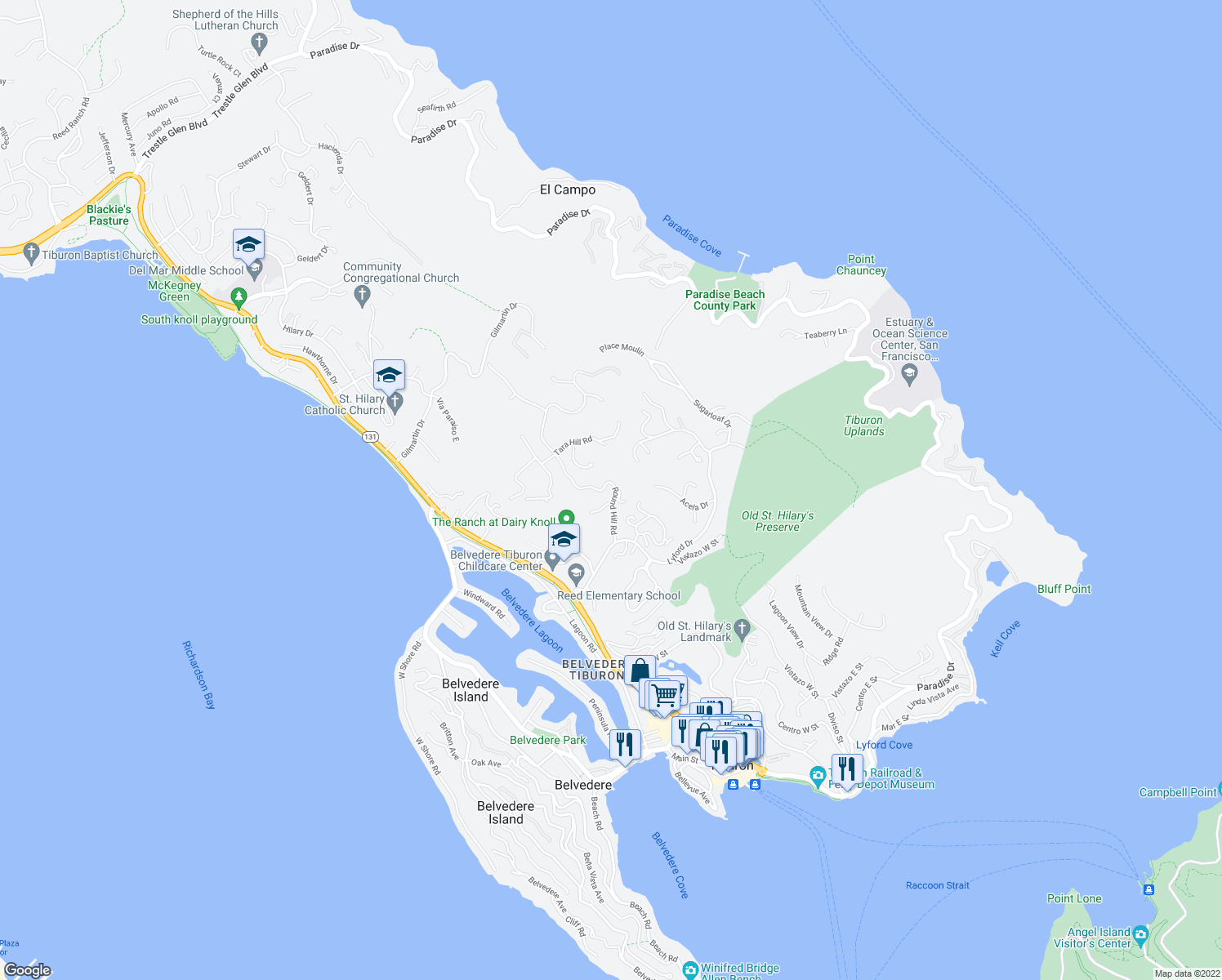map of restaurants, bars, coffee shops, grocery stores, and more near 87 Round Hill Road in Tiburon