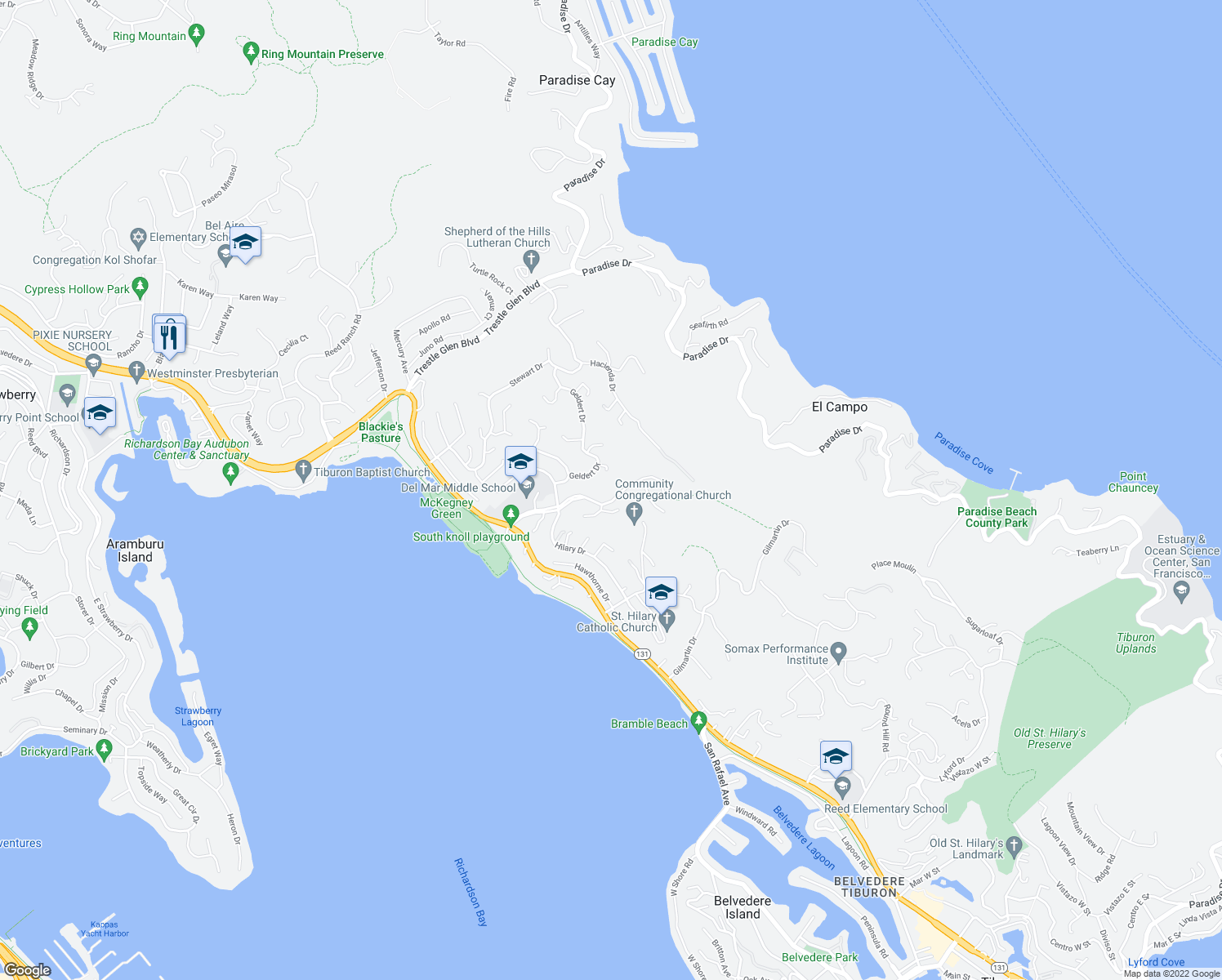 map of restaurants, bars, coffee shops, grocery stores, and more near 165 Mira Flores Lane in Belvedere Tiburon