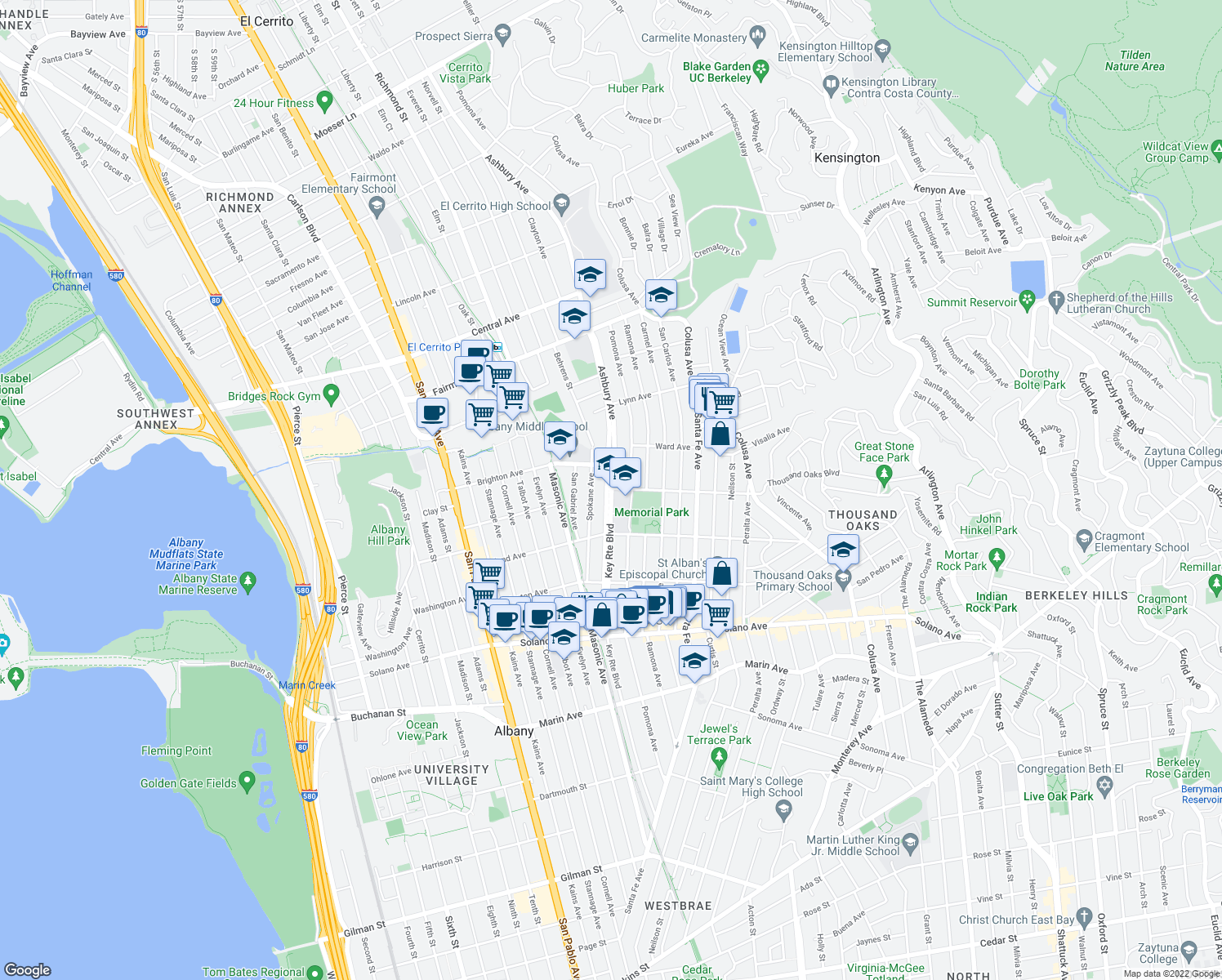 map of restaurants, bars, coffee shops, grocery stores, and more near 603-699 Key Route Boulevard in Albany