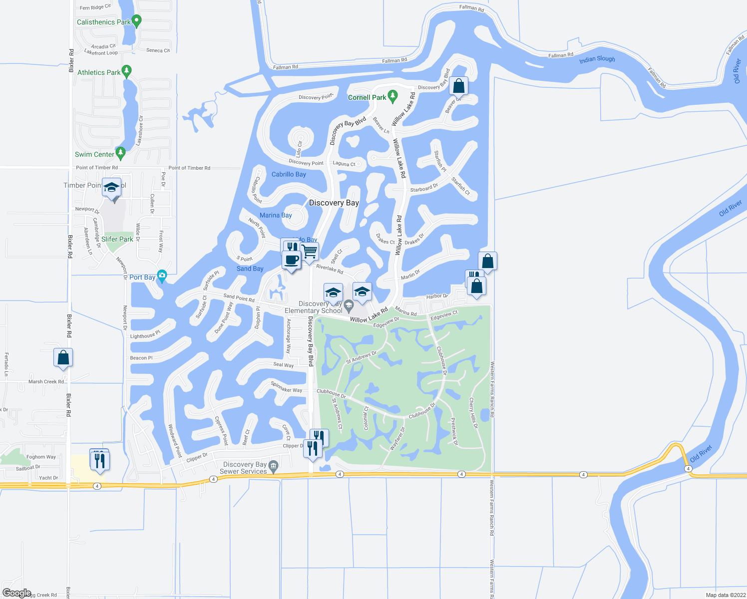 map of restaurants, bars, coffee shops, grocery stores, and more near 5521 Riverlake Road in Discovery Bay
