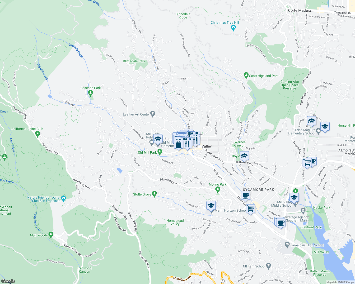 map of restaurants, bars, coffee shops, grocery stores, and more near 38 Lovell Avenue in Mill Valley
