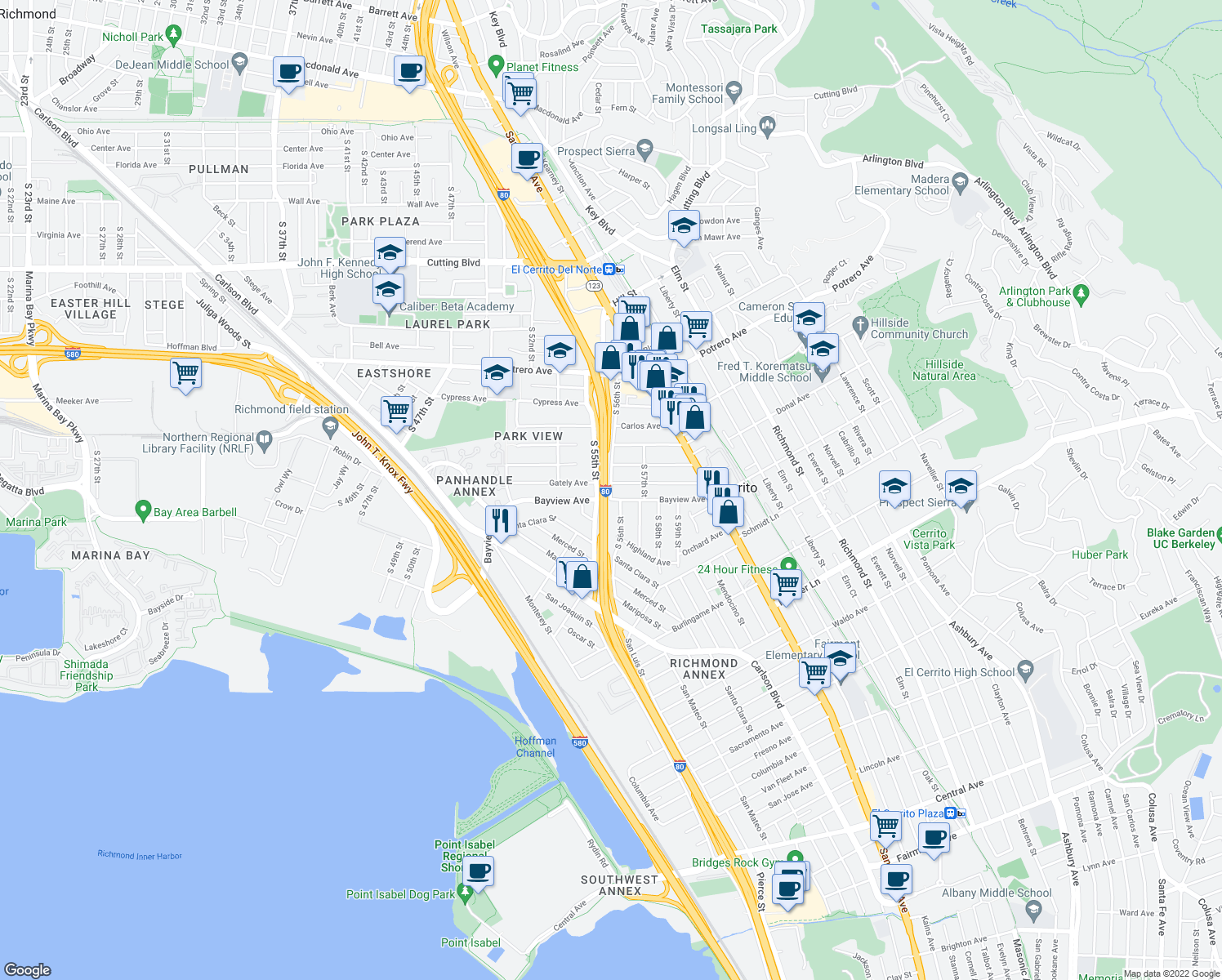 map of restaurants, bars, coffee shops, grocery stores, and more near Bayview Ave & S 56th St in Richmond
