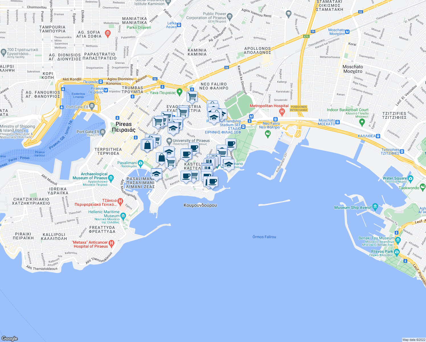 map of restaurants, bars, coffee shops, grocery stores, and more near 24 Akti Koumoundourou in Pireas