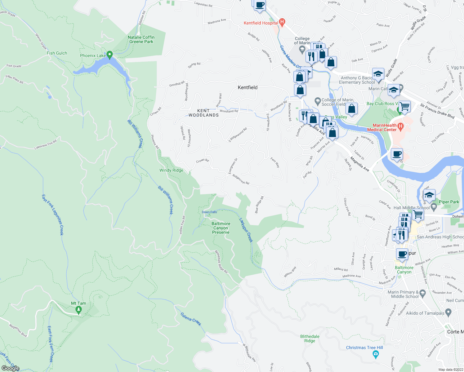 map of restaurants, bars, coffee shops, grocery stores, and more near 409 Crown Road in Kentfield