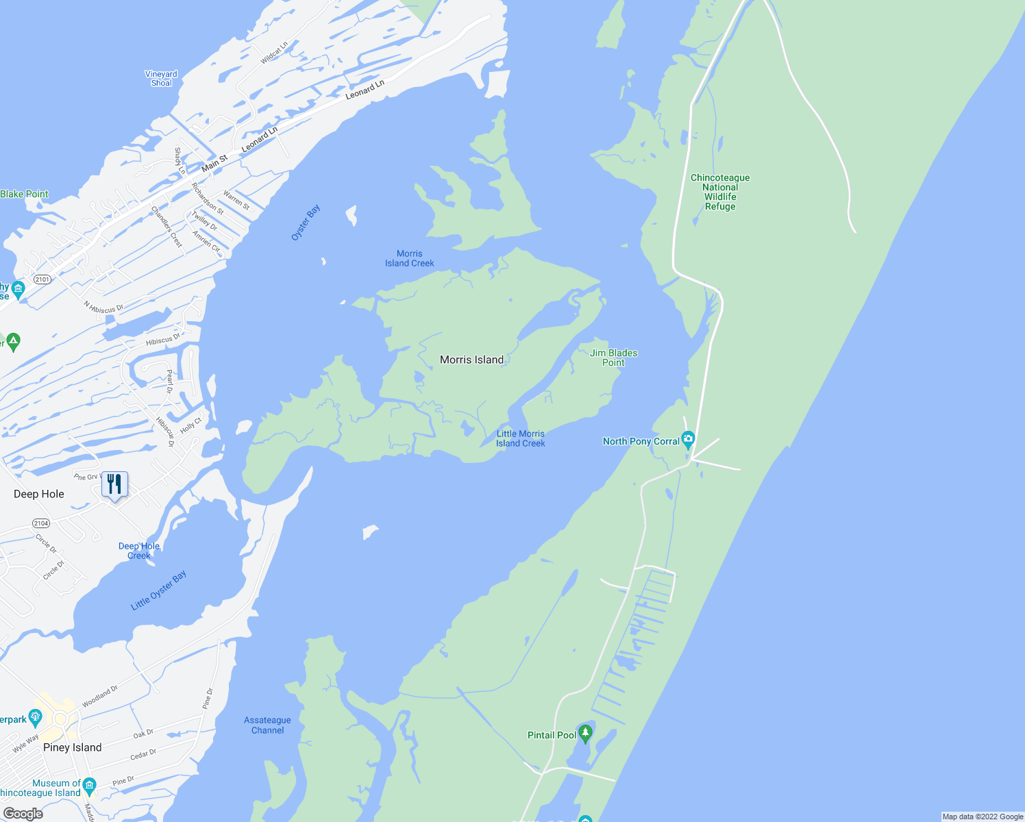 map of restaurants, bars, coffee shops, grocery stores, and more near Ragged Point Trail in Chincoteague Island
