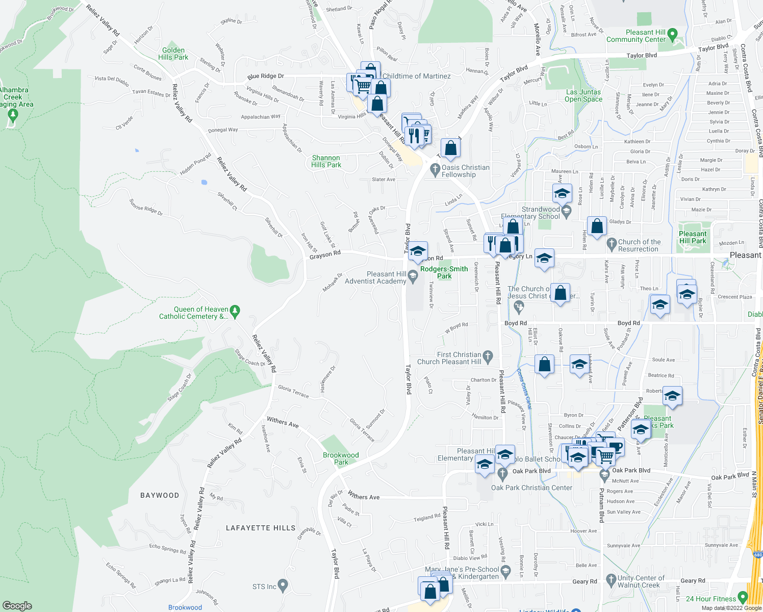 map of restaurants, bars, coffee shops, grocery stores, and more near 2282 Heritage Hills Drive in Pleasant Hill