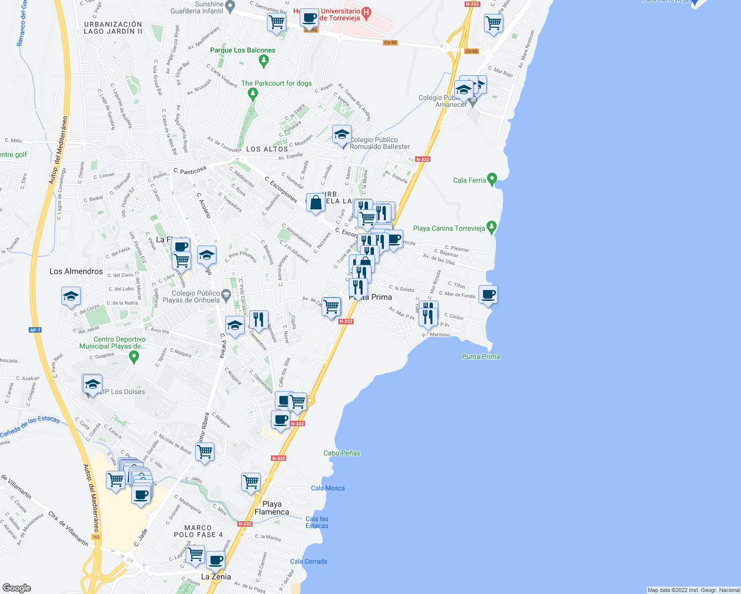 map of restaurants, bars, coffee shops, grocery stores, and more near s/n Carretera del Aeropuerto in Santiago de la Ribera