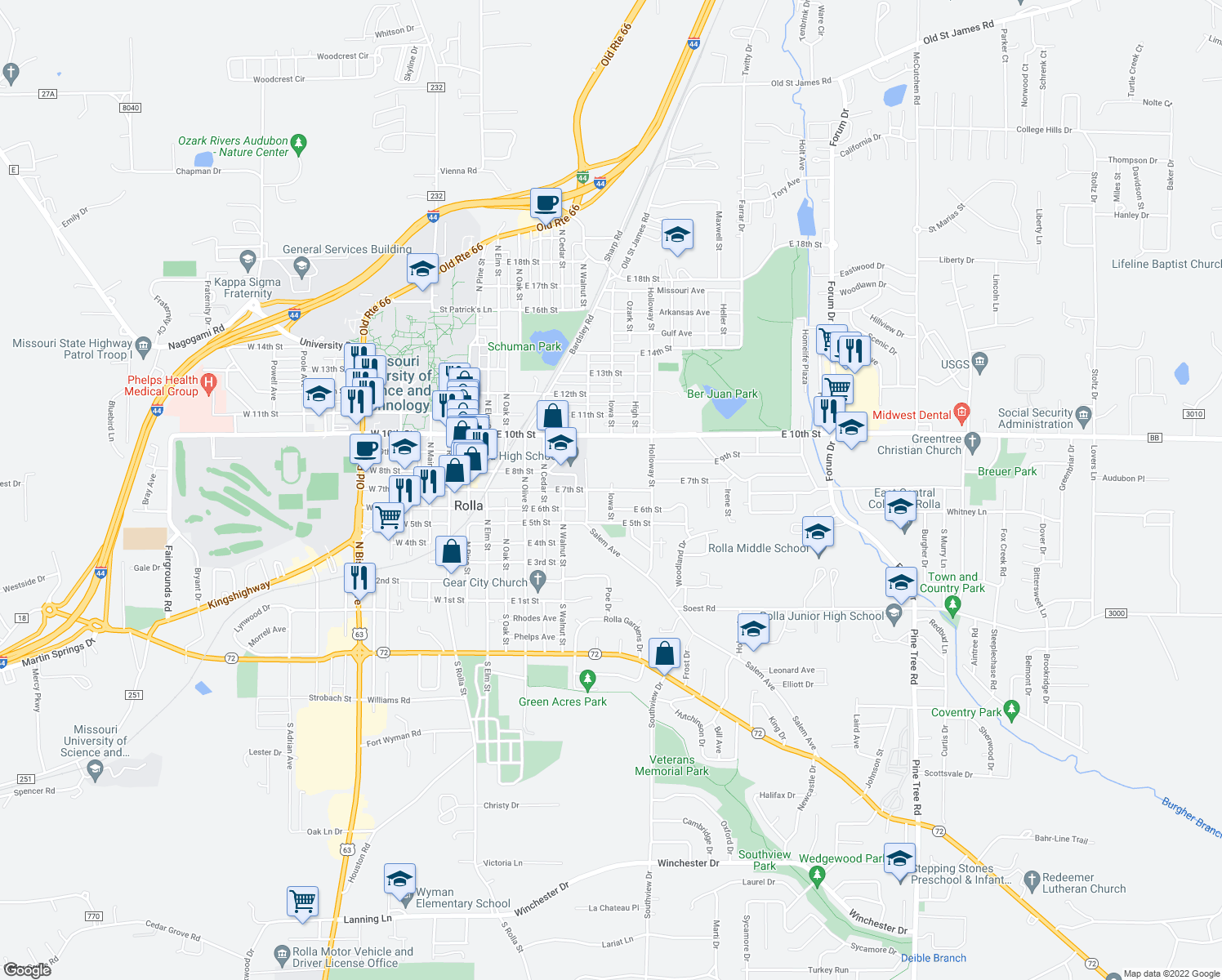 map of restaurants, bars, coffee shops, grocery stores, and more near East 7th Street in Rolla