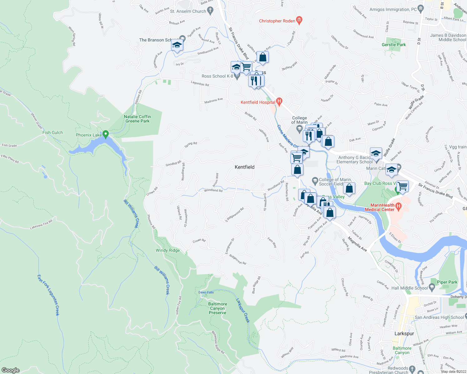 map of restaurants, bars, coffee shops, grocery stores, and more near 9 North Ridgewood Road in Kentfield