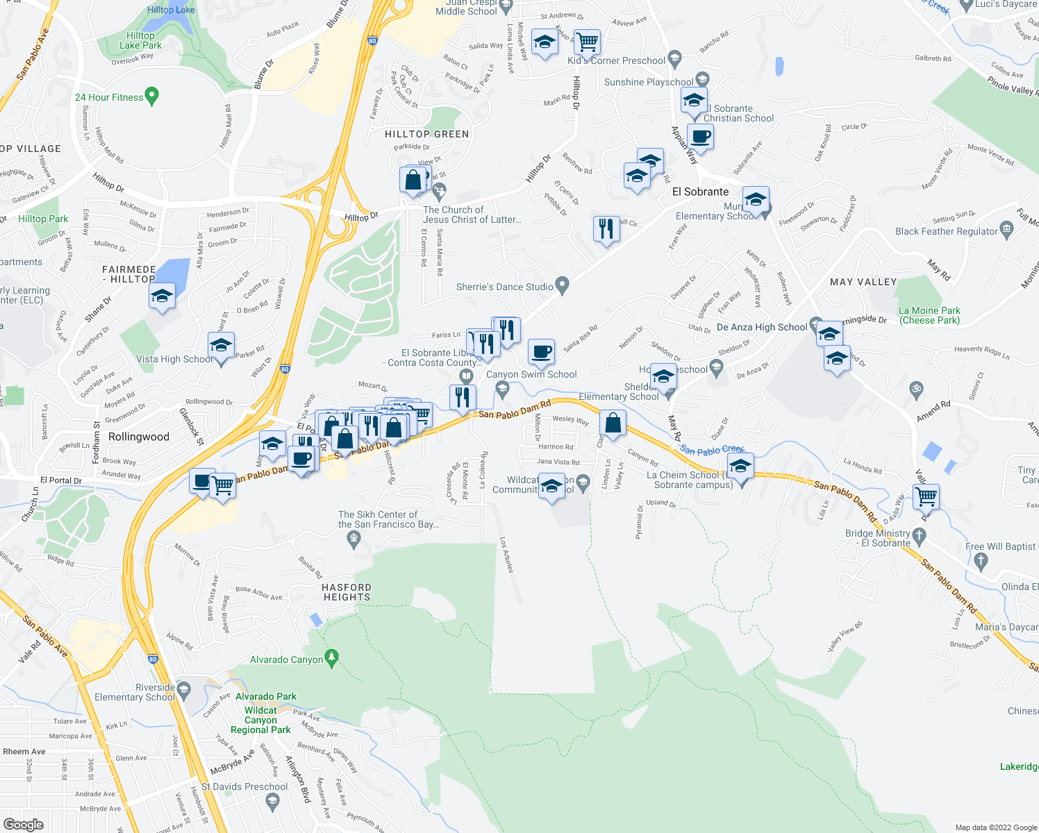 map of restaurants, bars, coffee shops, grocery stores, and more near 4242 San Pablo Dam Road in El Sobrante
