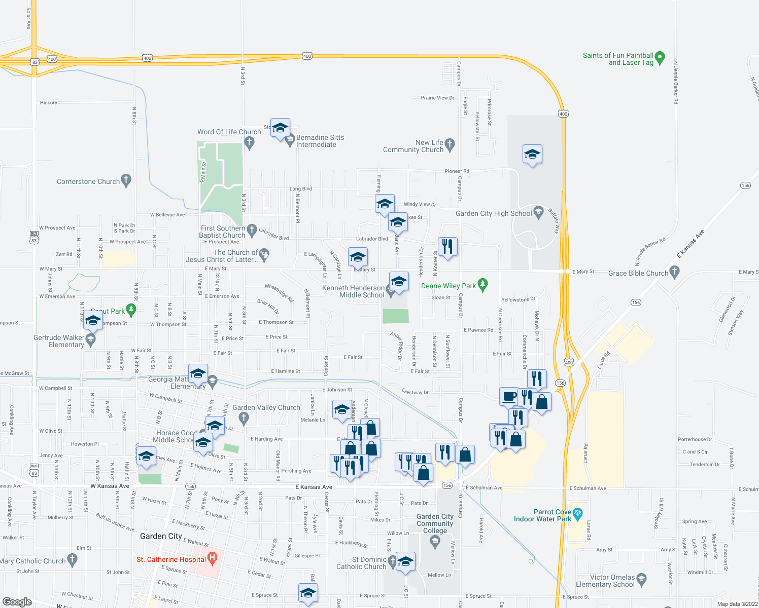 map of restaurants, bars, coffee shops, grocery stores, and more near 2400-2406 Fleming Street in Garden City