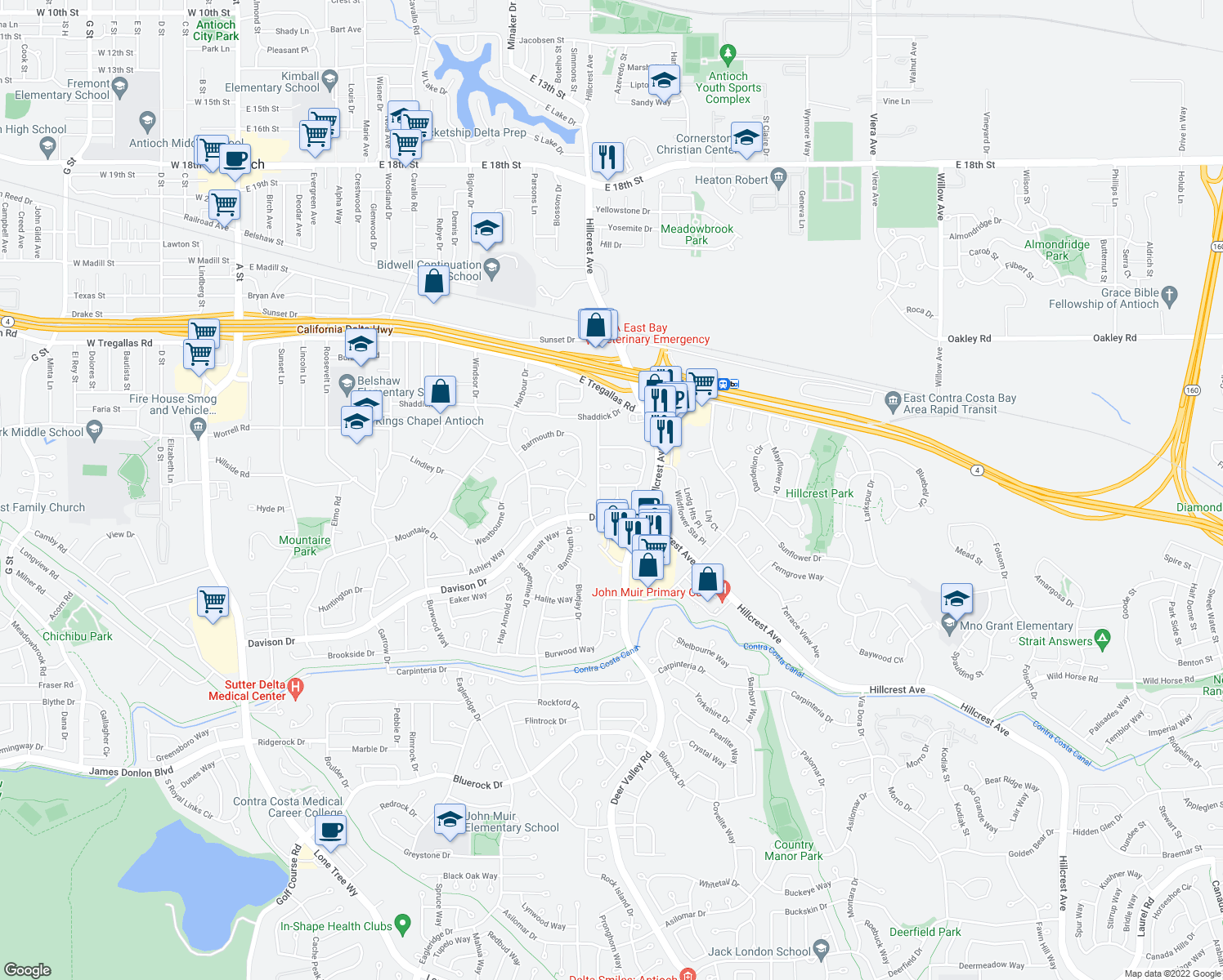 map of restaurants, bars, coffee shops, grocery stores, and more near 1542 Mellissa Circle in Antioch