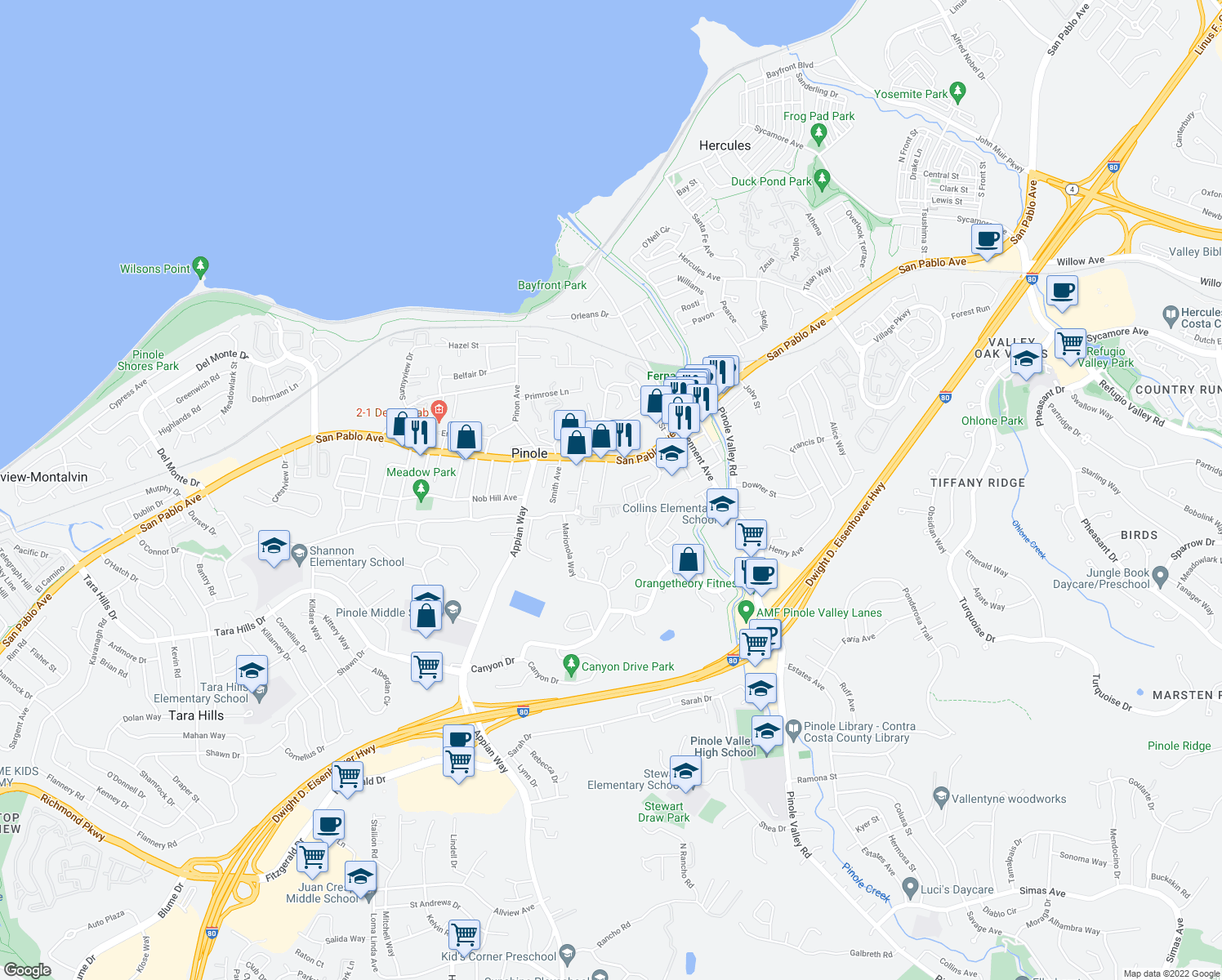 map of restaurants, bars, coffee shops, grocery stores, and more near 900 Alvarez Avenue in Pinole
