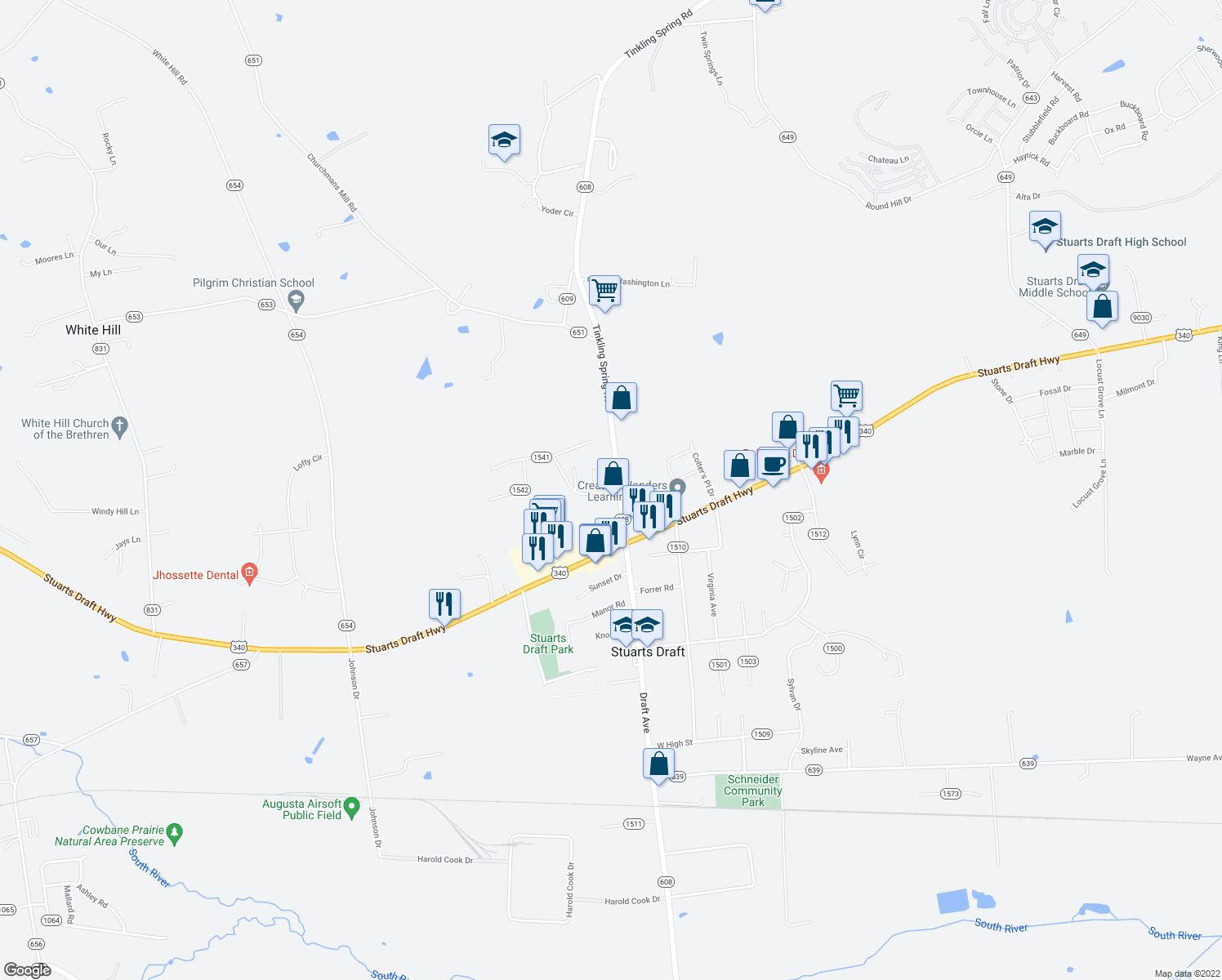 map of restaurants, bars, coffee shops, grocery stores, and more near 2546 Tinkling Spring Road in Stuarts Draft