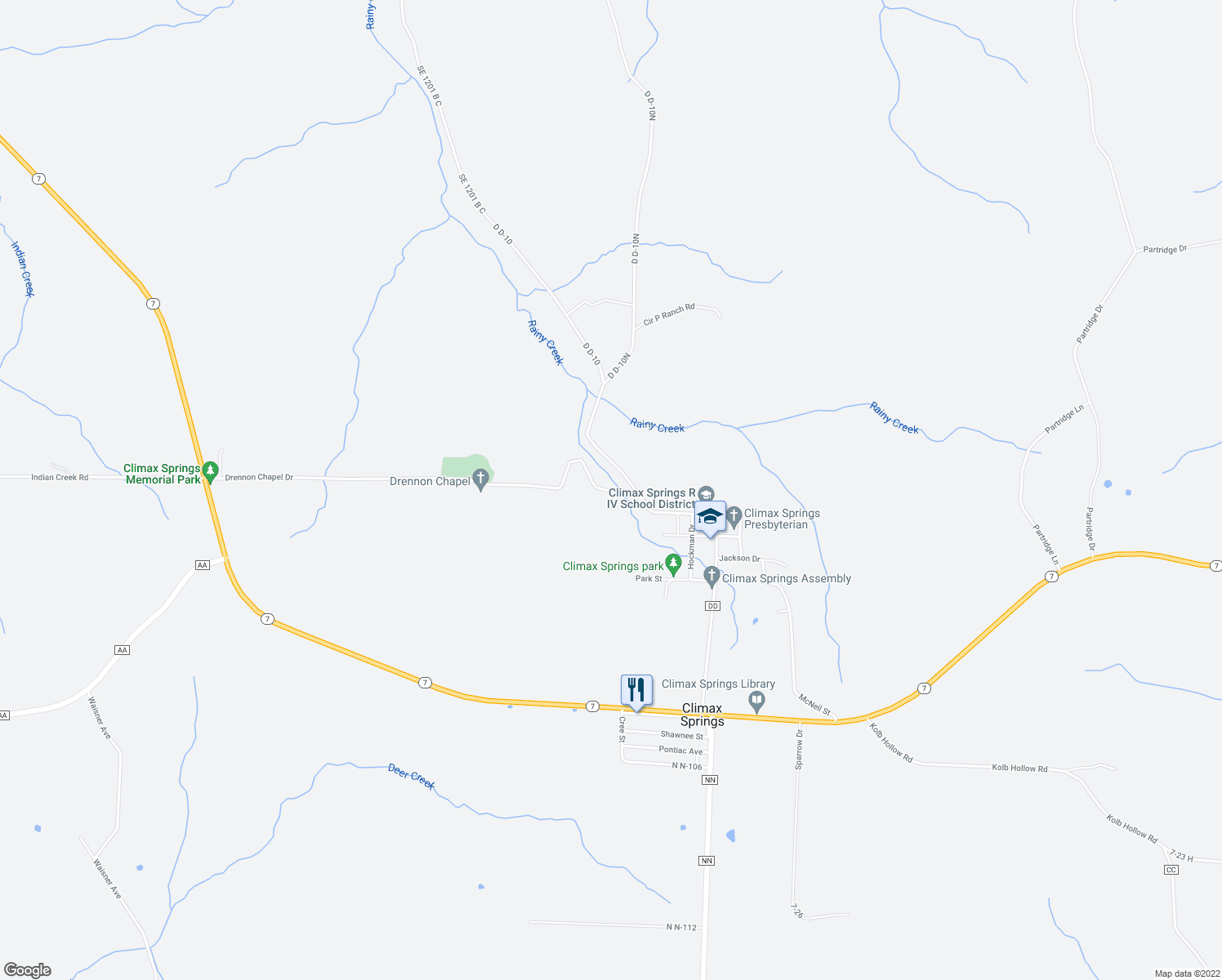 map of restaurants, bars, coffee shops, grocery stores, and more near D D-101 in Climax Springs
