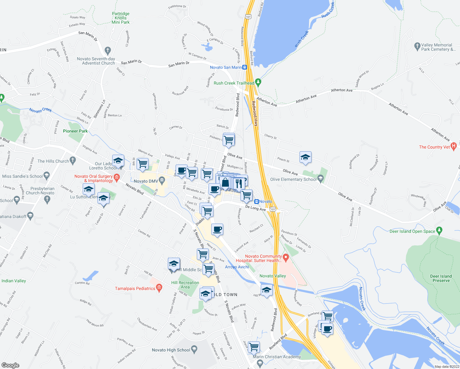 map of restaurants, bars, coffee shops, grocery stores, and more near 1014 Machin Avenue in Novato