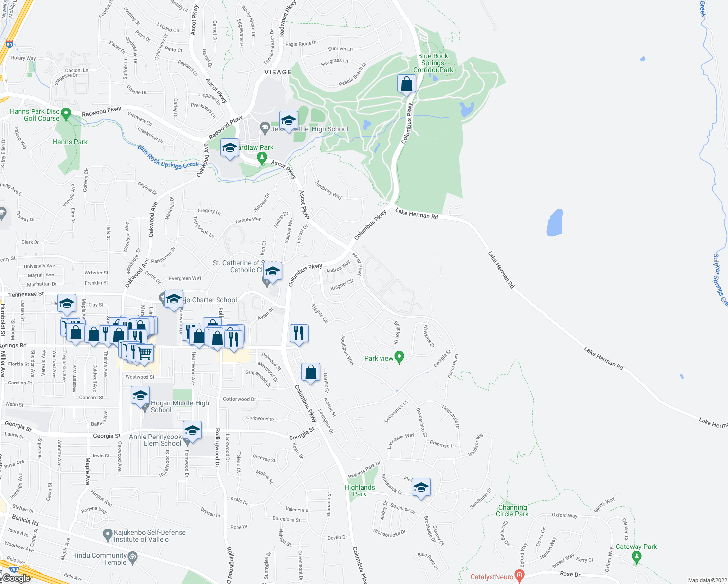 map of restaurants, bars, coffee shops, grocery stores, and more near 37 Canterbury Circle in Vallejo