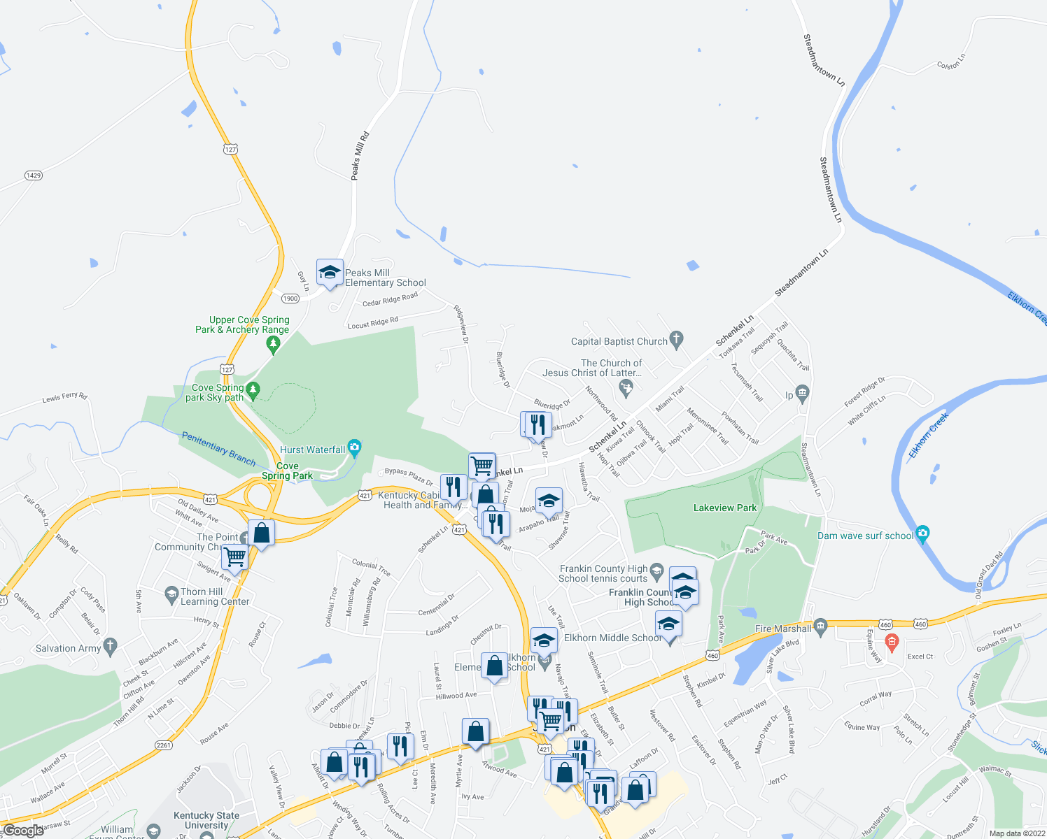 map of restaurants, bars, coffee shops, grocery stores, and more near 204-212 Blueridge Drive in Frankfort