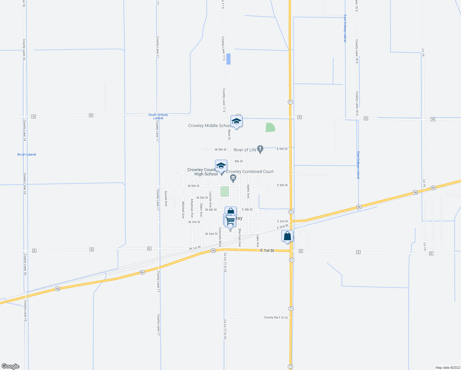map of restaurants, bars, coffee shops, grocery stores, and more near 531 Main Street in Ordway