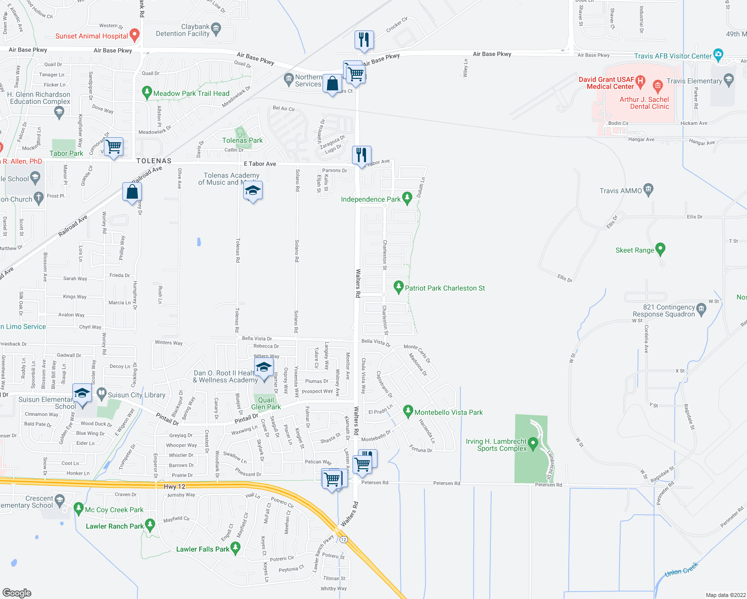 map of restaurants, bars, coffee shops, grocery stores, and more near 1776 Beale Cir in Suisun City