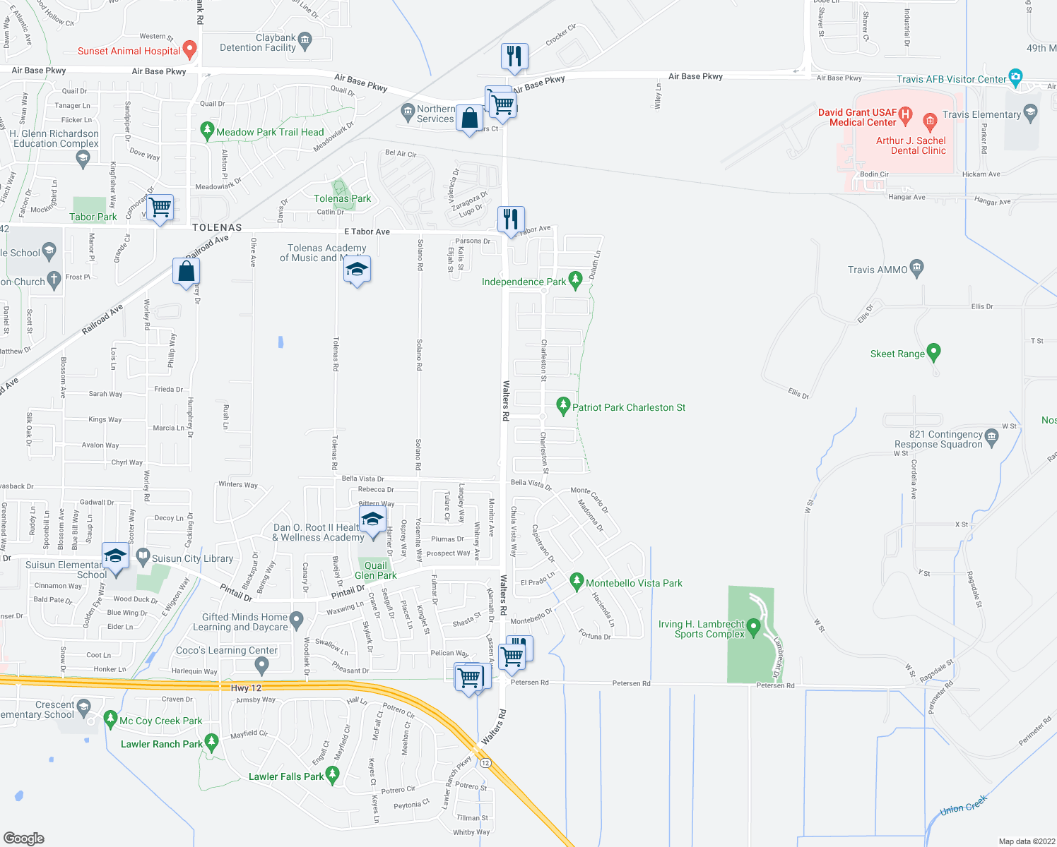 map of restaurants, bars, coffee shops, grocery stores, and more near 1776 Beale Circle in Suisun City