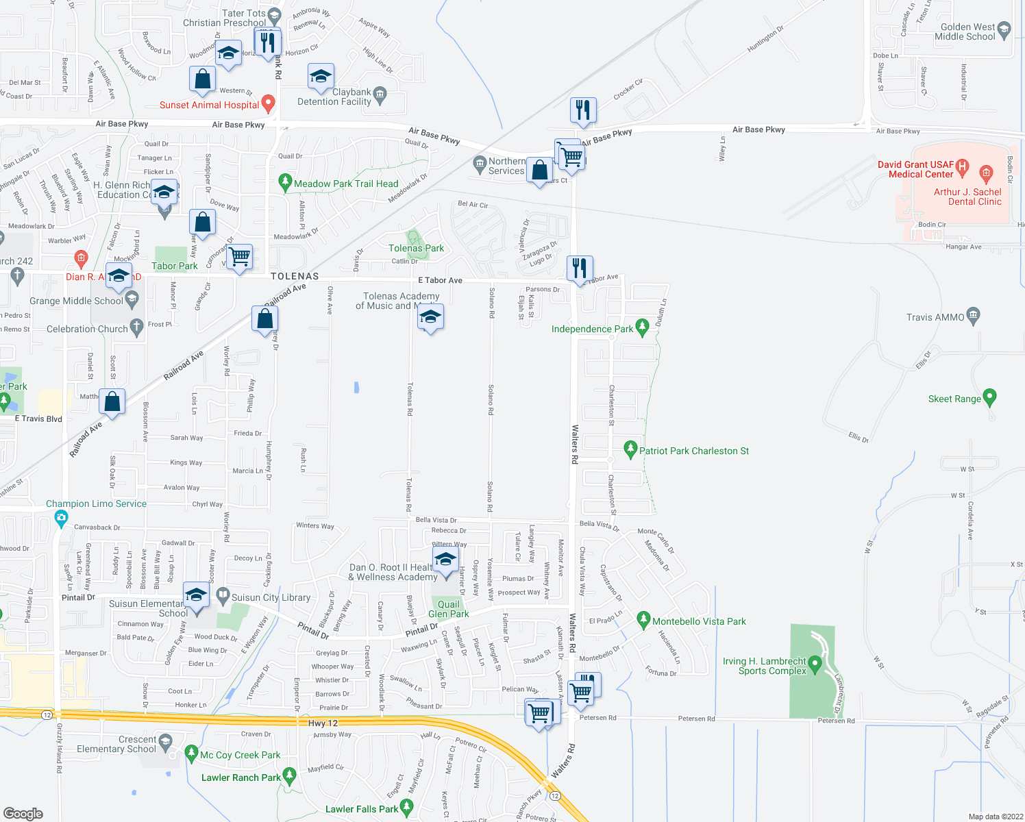 map of restaurants, bars, coffee shops, grocery stores, and more near 4432 Solano Rd in Fairfield