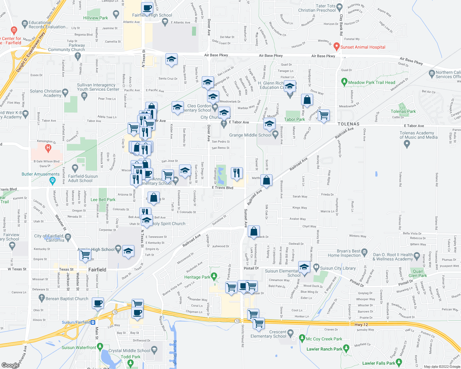 map of restaurants, bars, coffee shops, grocery stores, and more near 840 East Travis Boulevard in Fairfield