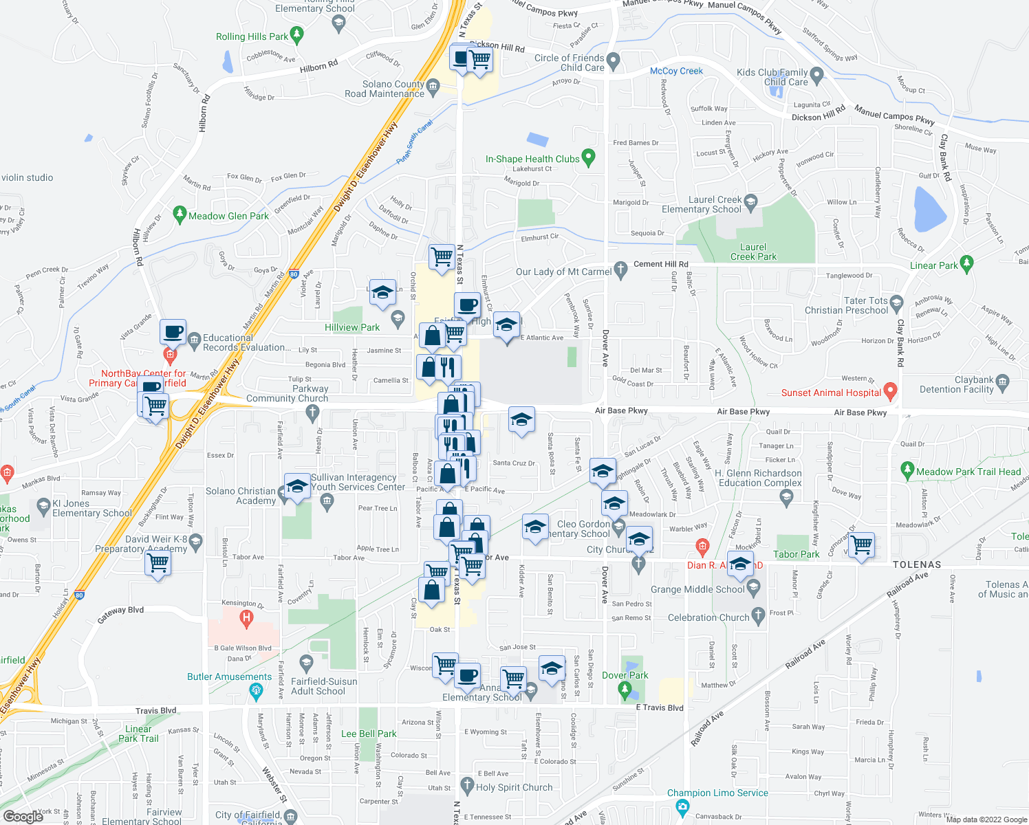 map of restaurants, bars, coffee shops, grocery stores, and more near 163-209 East Alaska Avenue in Fairfield