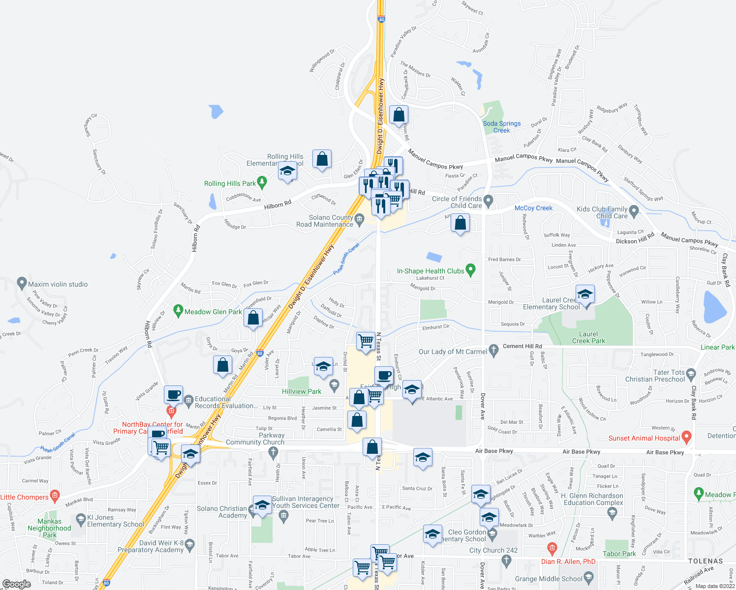 map of restaurants, bars, coffee shops, grocery stores, and more near 2956 Orchid Street in Fairfield