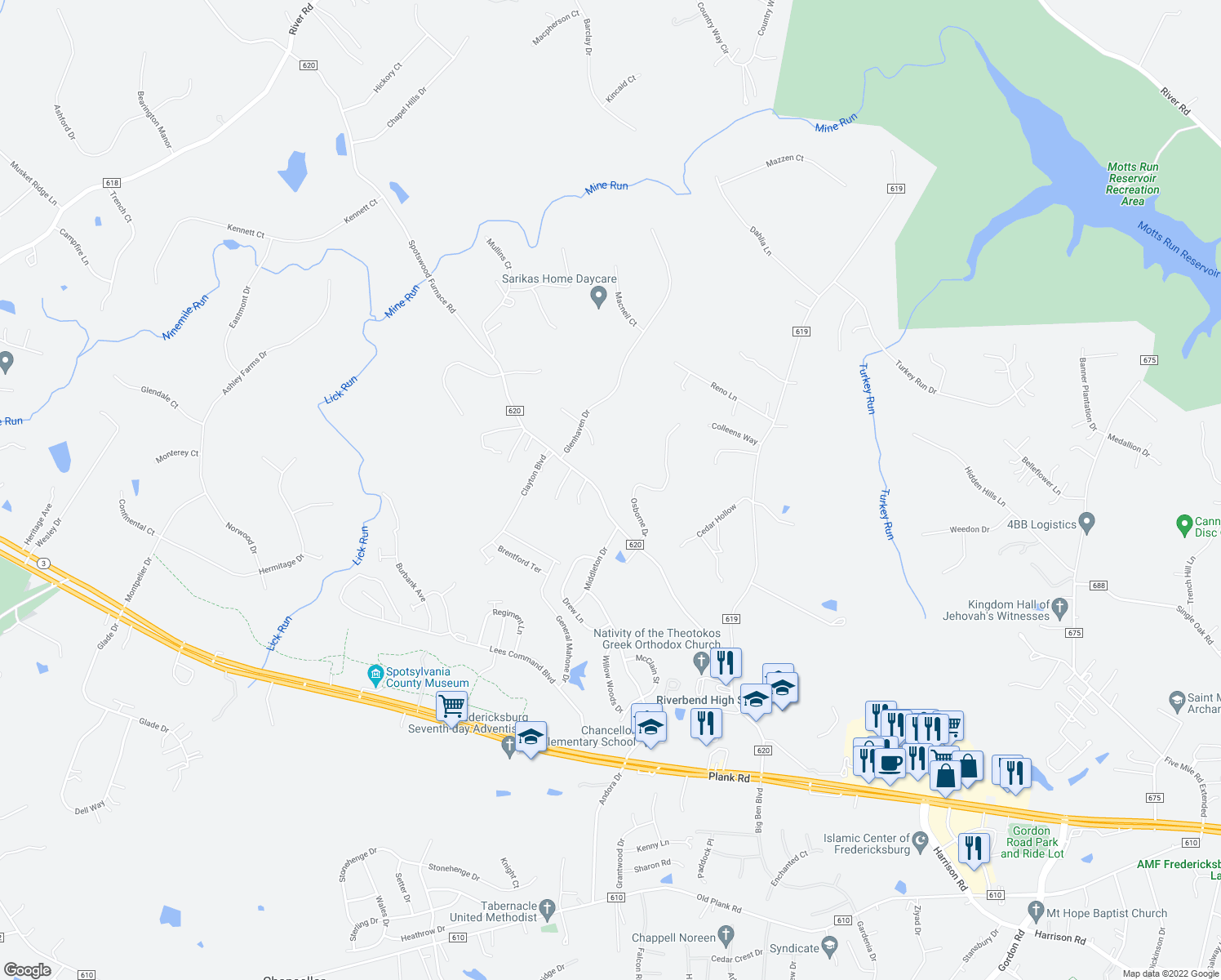 map of restaurants, bars, coffee shops, grocery stores, and more near 12611 Spotswood Furnace Road in Fredericksburg